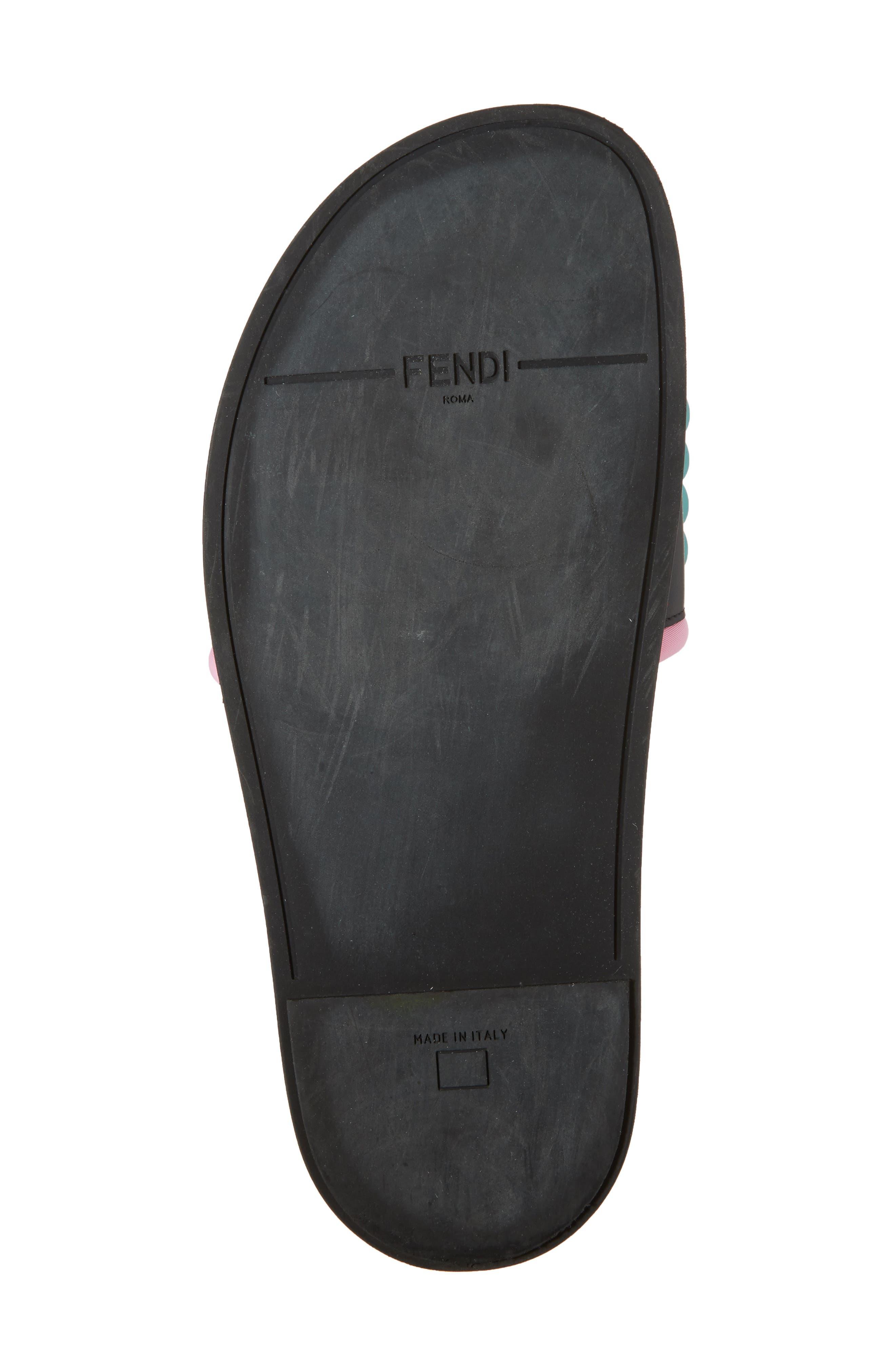 Studded Logo Slide Sandal,                             Alternate thumbnail 6, color,                             Black
