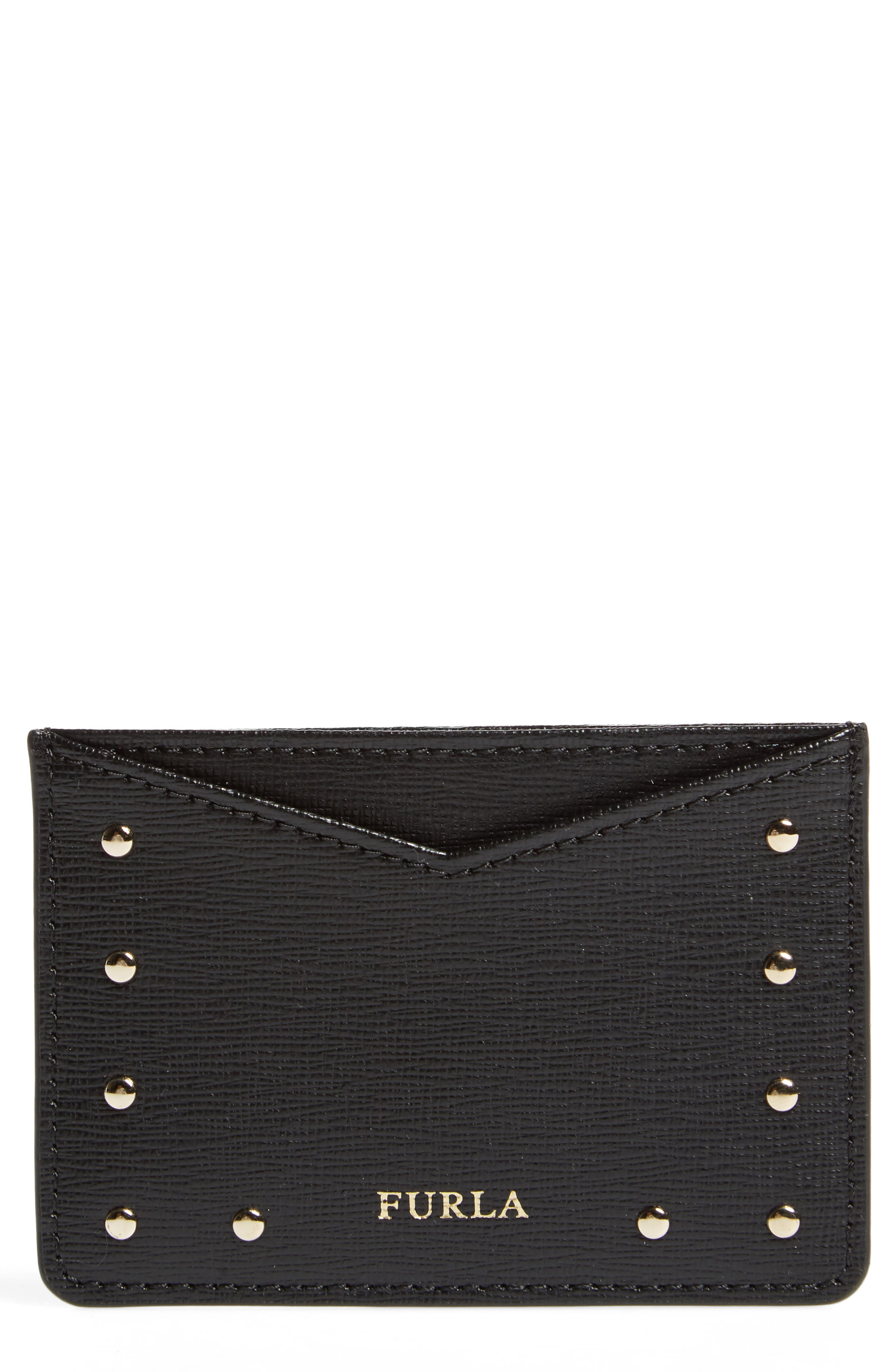 Gioia Saffiano Leather Card Case,                         Main,                         color, Onyx