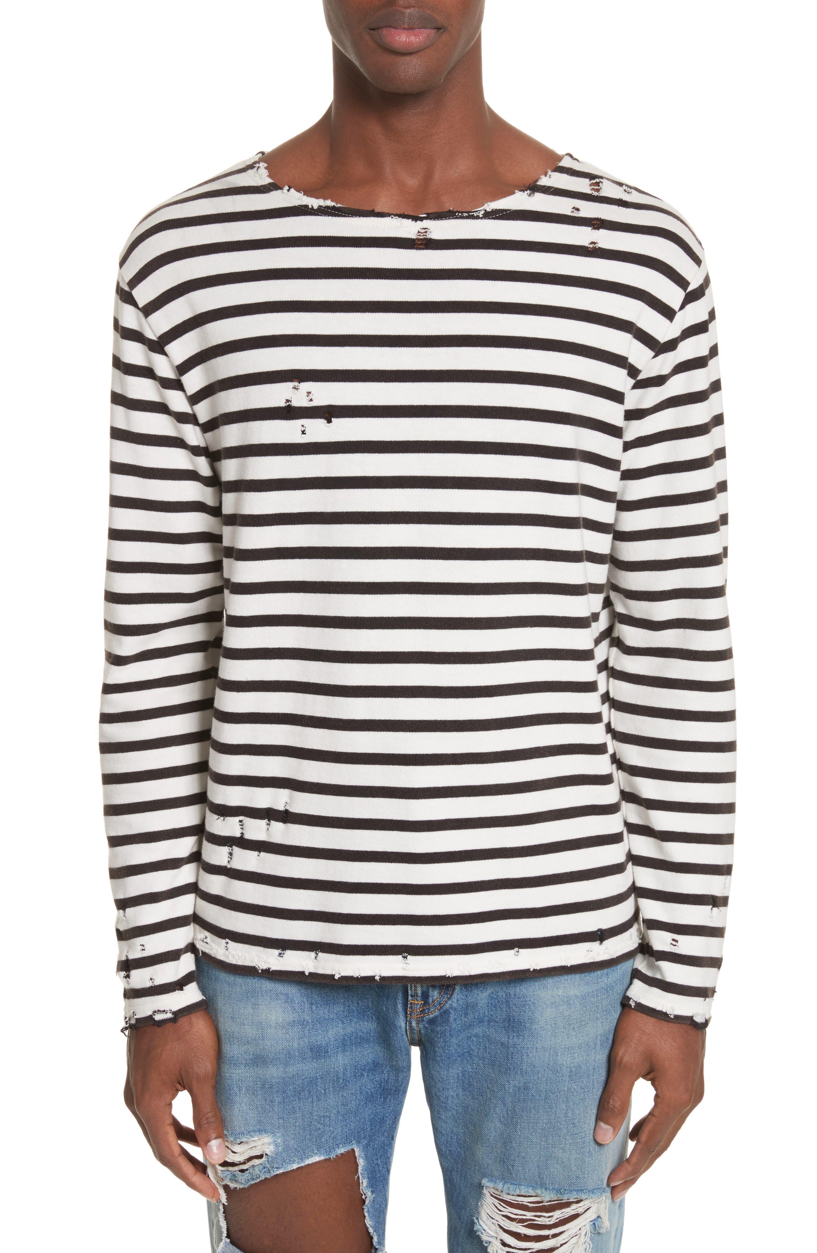 Distressed Stripe Long Sleeve T-Shirt,                         Main,                         color, Black W/ Ecru