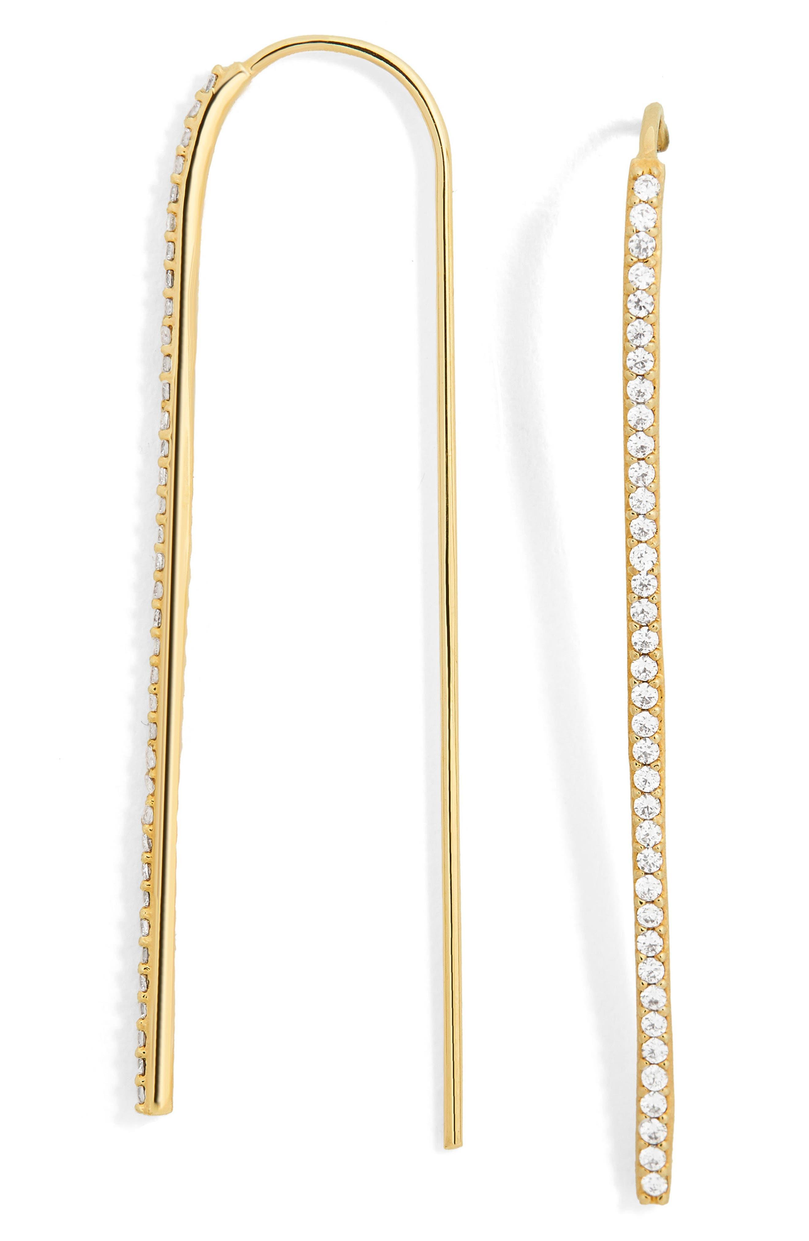 Sirena Pavé Threader Earrings,                             Main thumbnail 1, color,                             Gold