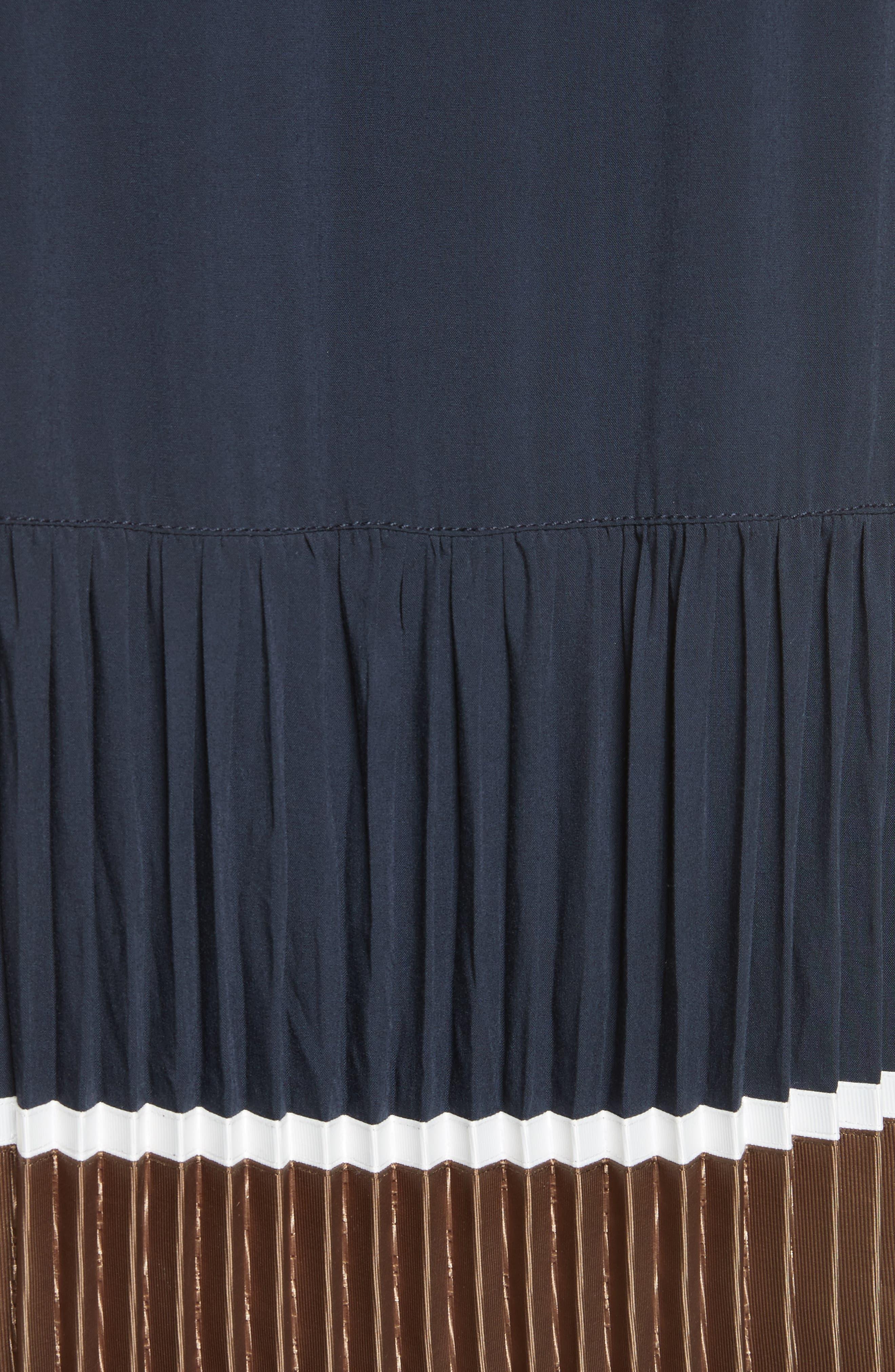Jama Pleated Stripe Dress,                             Alternate thumbnail 5, color,                             Navy Multi