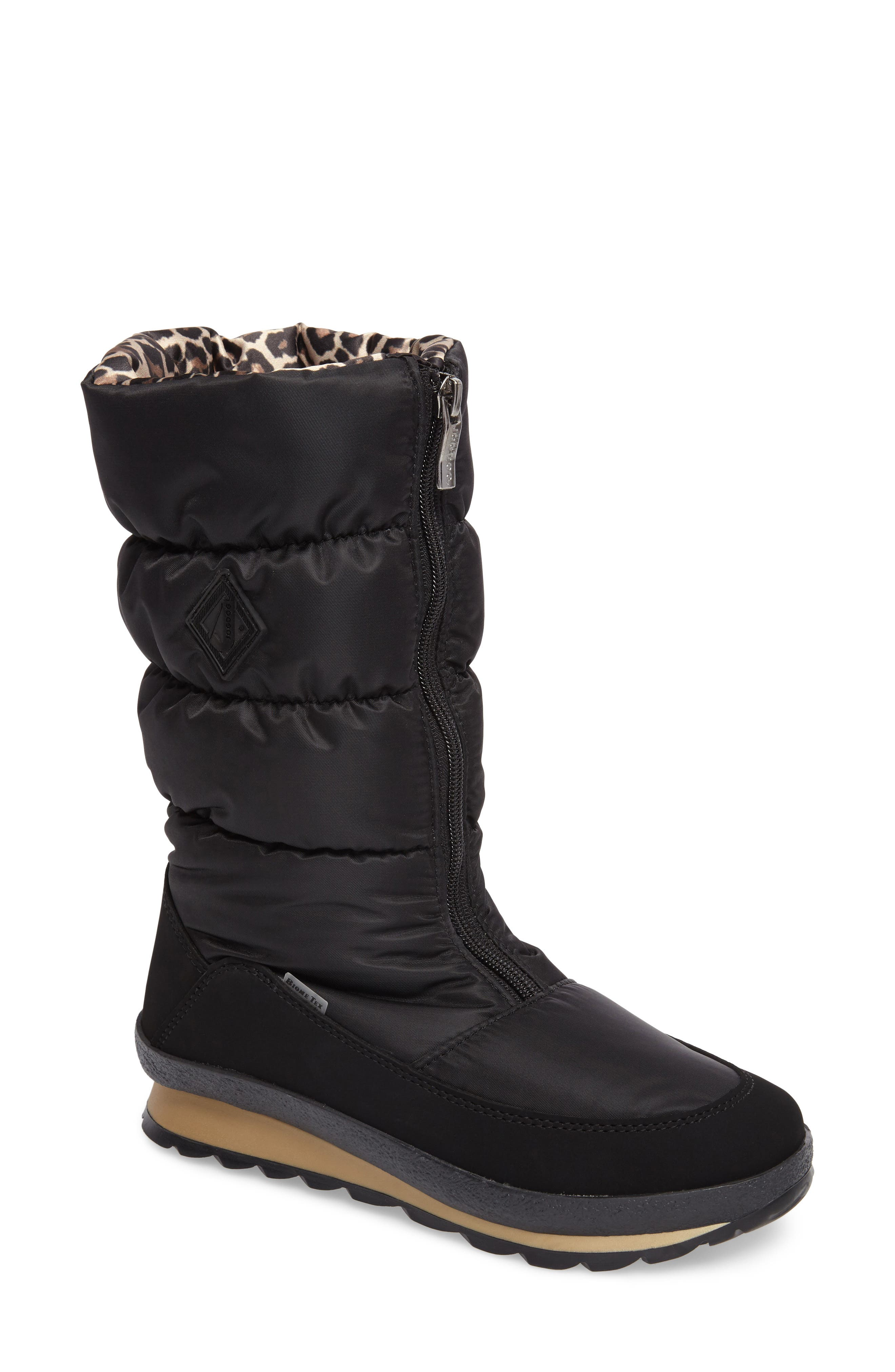 Cervina Waterproof Zip-Up Channel Quilted Boot,                         Main,                         color, Black Leopard Nylon