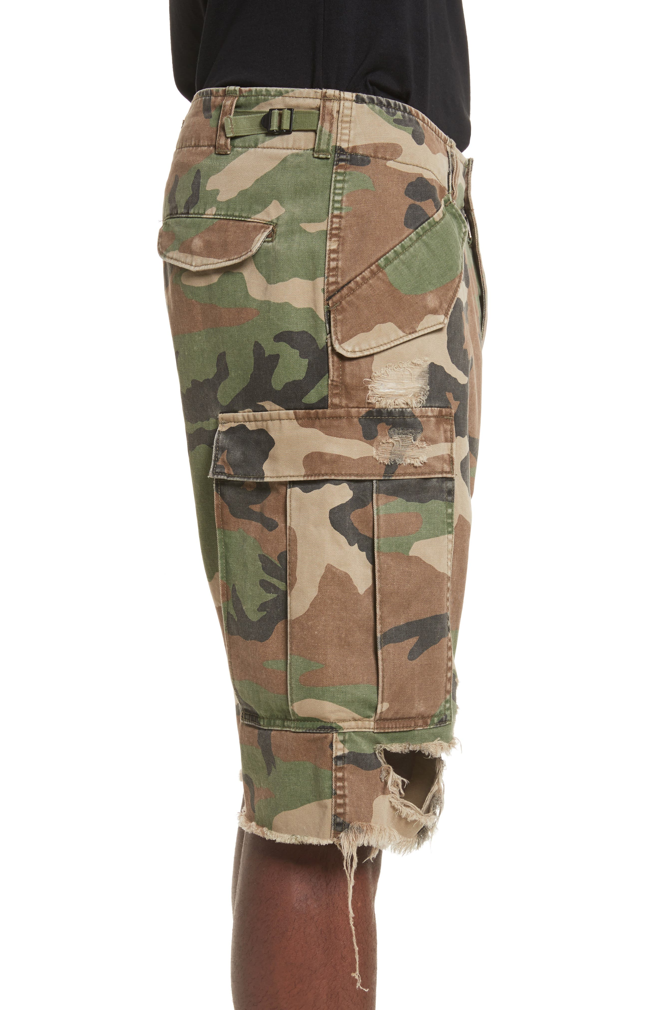 Surplus Shredded Camo Cargo Shorts,                             Alternate thumbnail 3, color,                             Camo