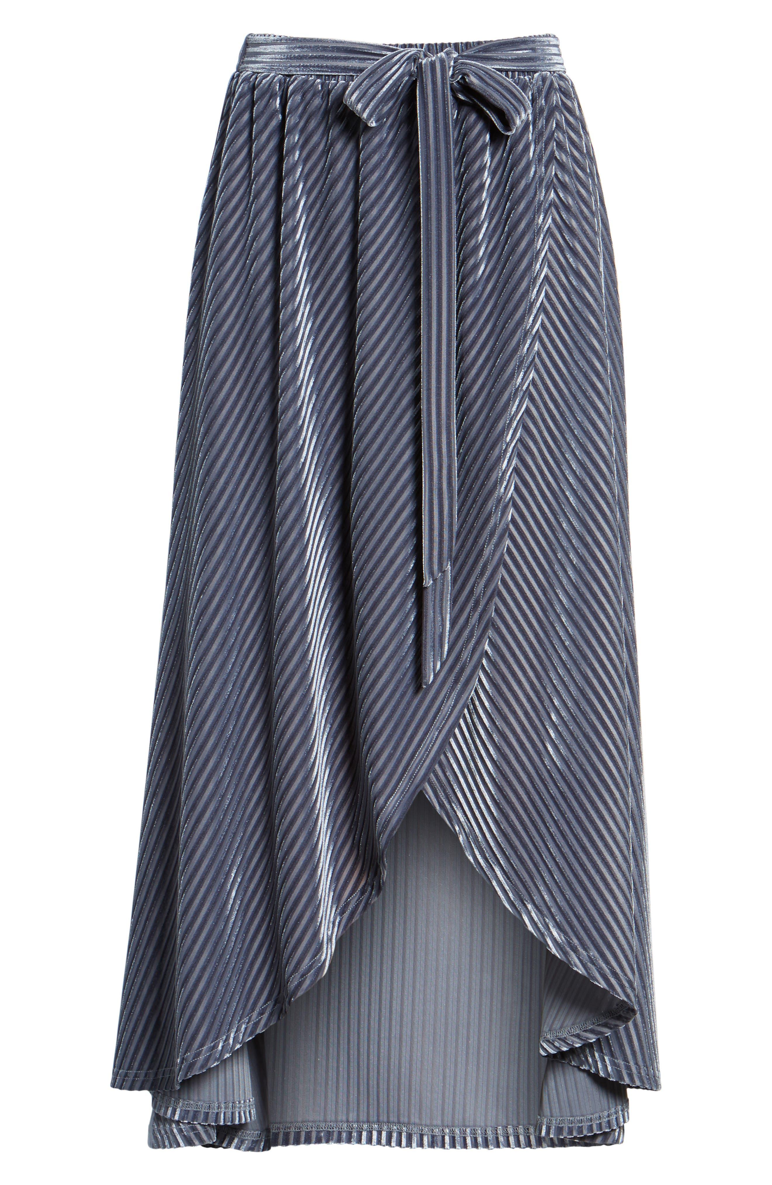Velvet Wrap Skirt,                             Alternate thumbnail 6, color,                             Slate