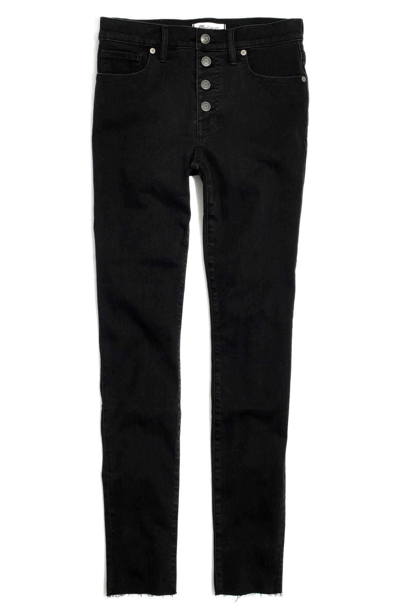 9-Inch Button High Waist Ankle Skinny Jeans,                             Alternate thumbnail 4, color,                             Berkeley Wash