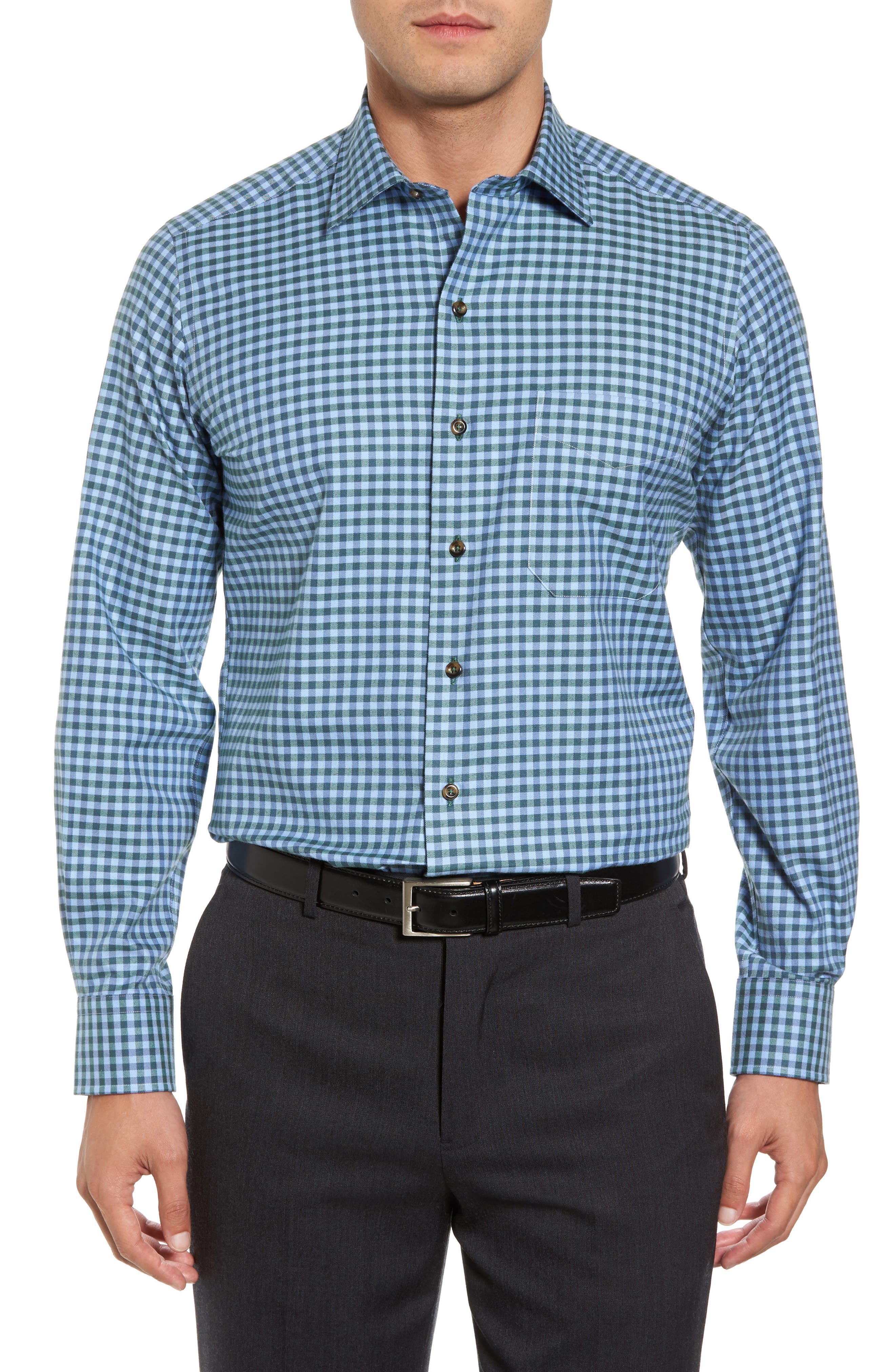 Regular Fit Check Sport Shirt,                             Main thumbnail 1, color,                             Blue/ Green