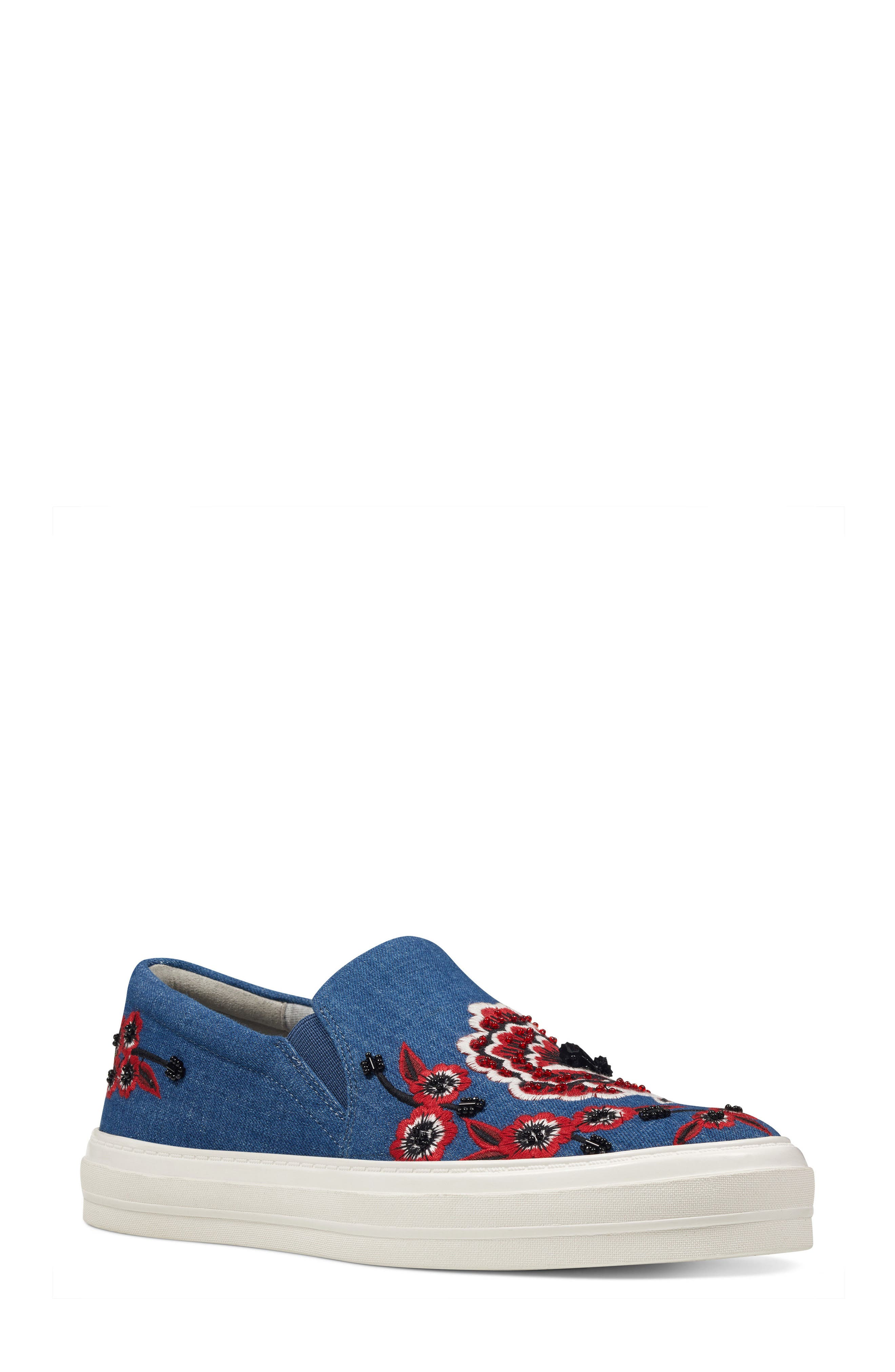 Alternate Image 1 Selected - Nine West Onyeka Embroidered Slip-On Sneaker (Women)