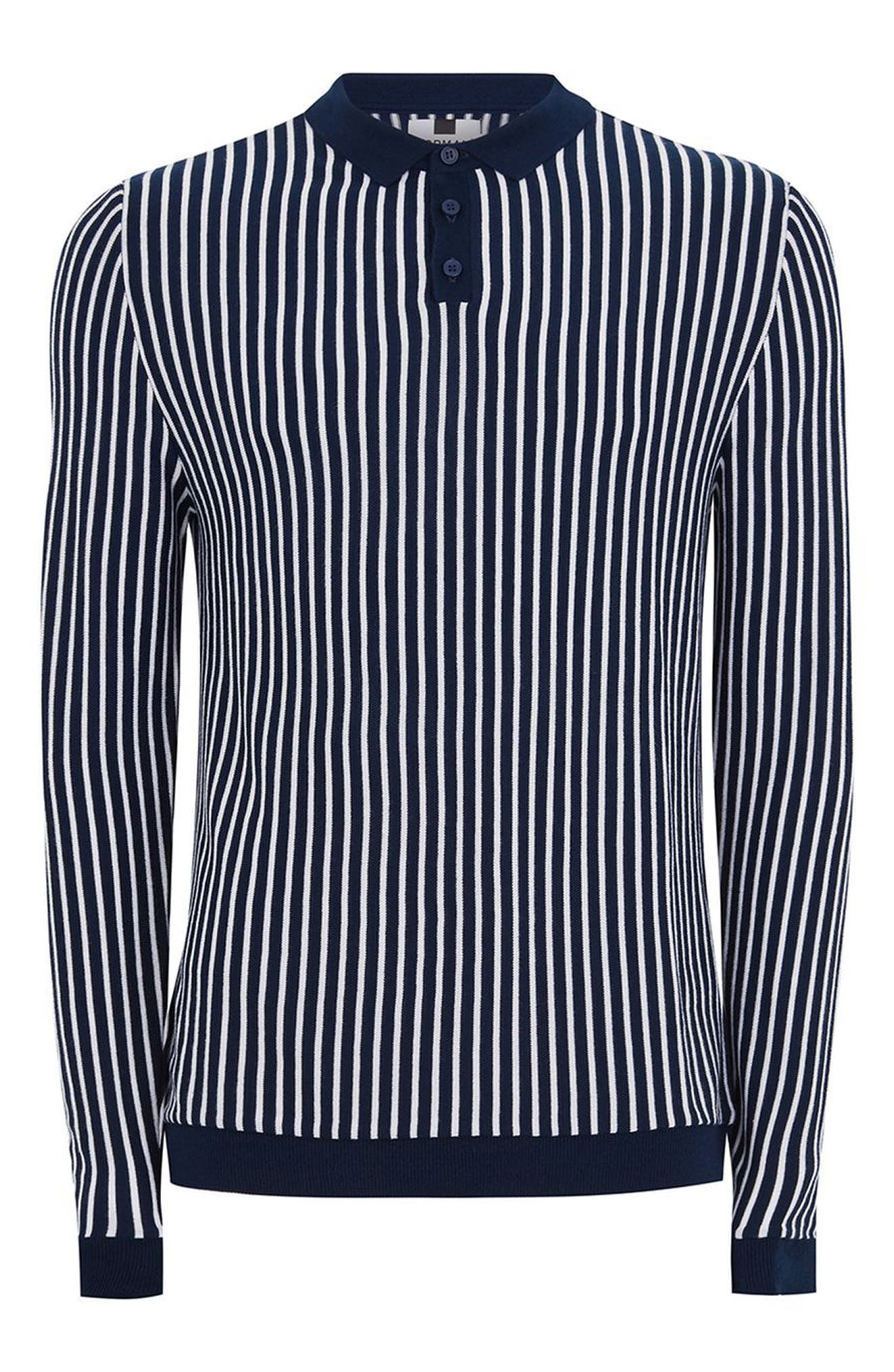 Alternate Image 4  - Topman Stripe Knit Polo Sweater