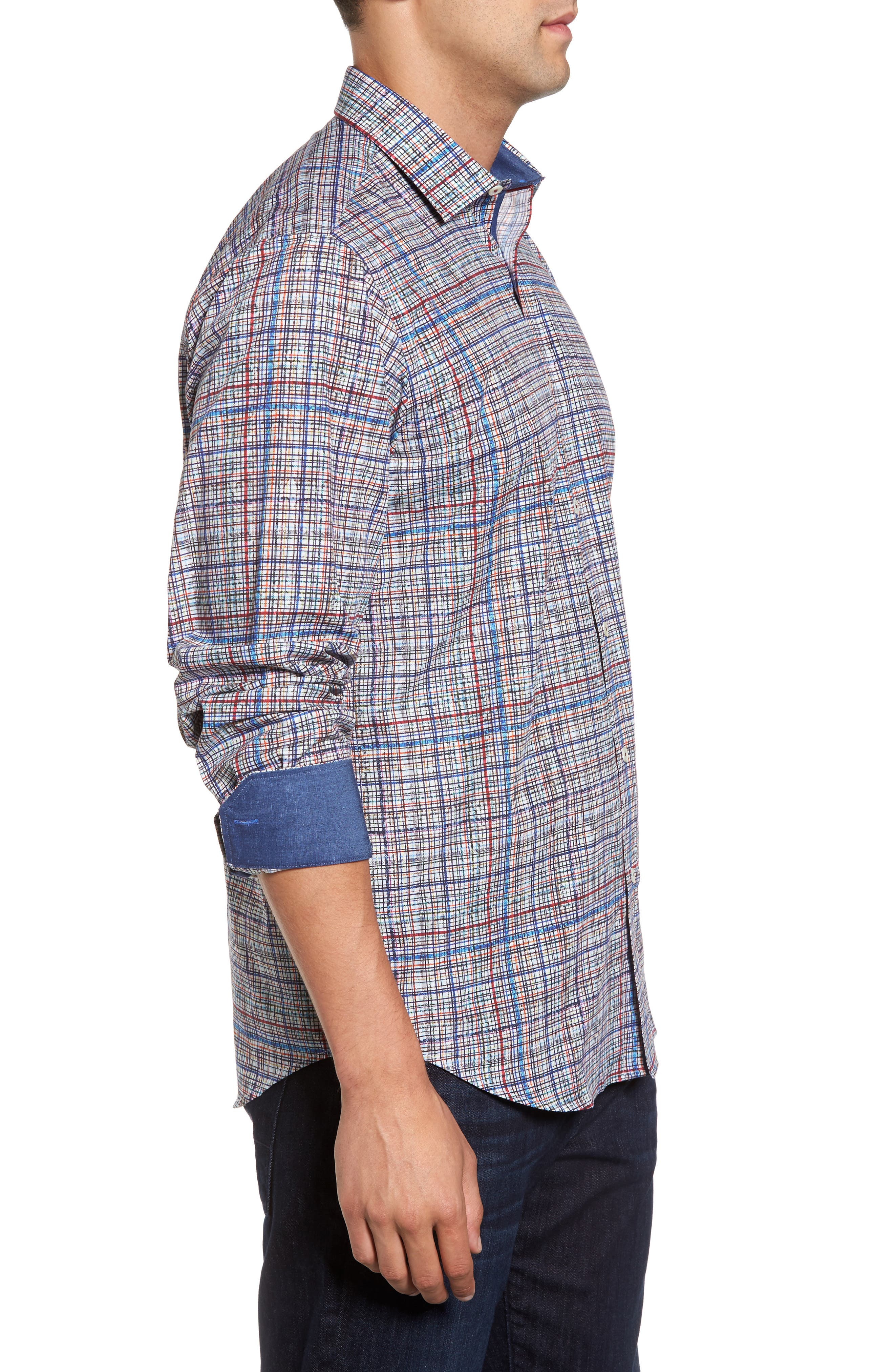Classic Fit Abstract Plaid Sport Shirt,                             Alternate thumbnail 3, color,                             Candy