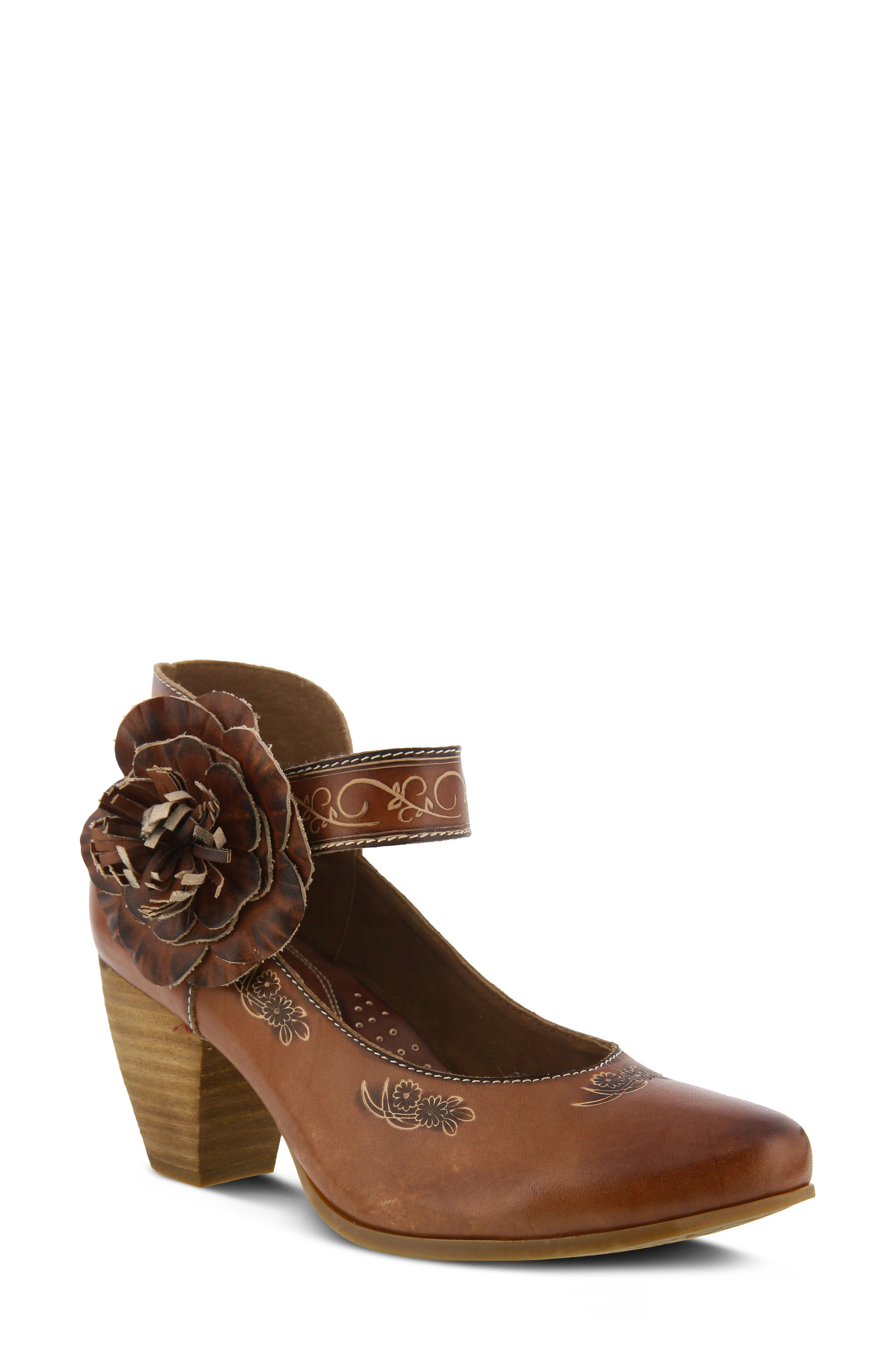 L'Artiste Tosha Pump,                             Main thumbnail 1, color,                             Brown Leather
