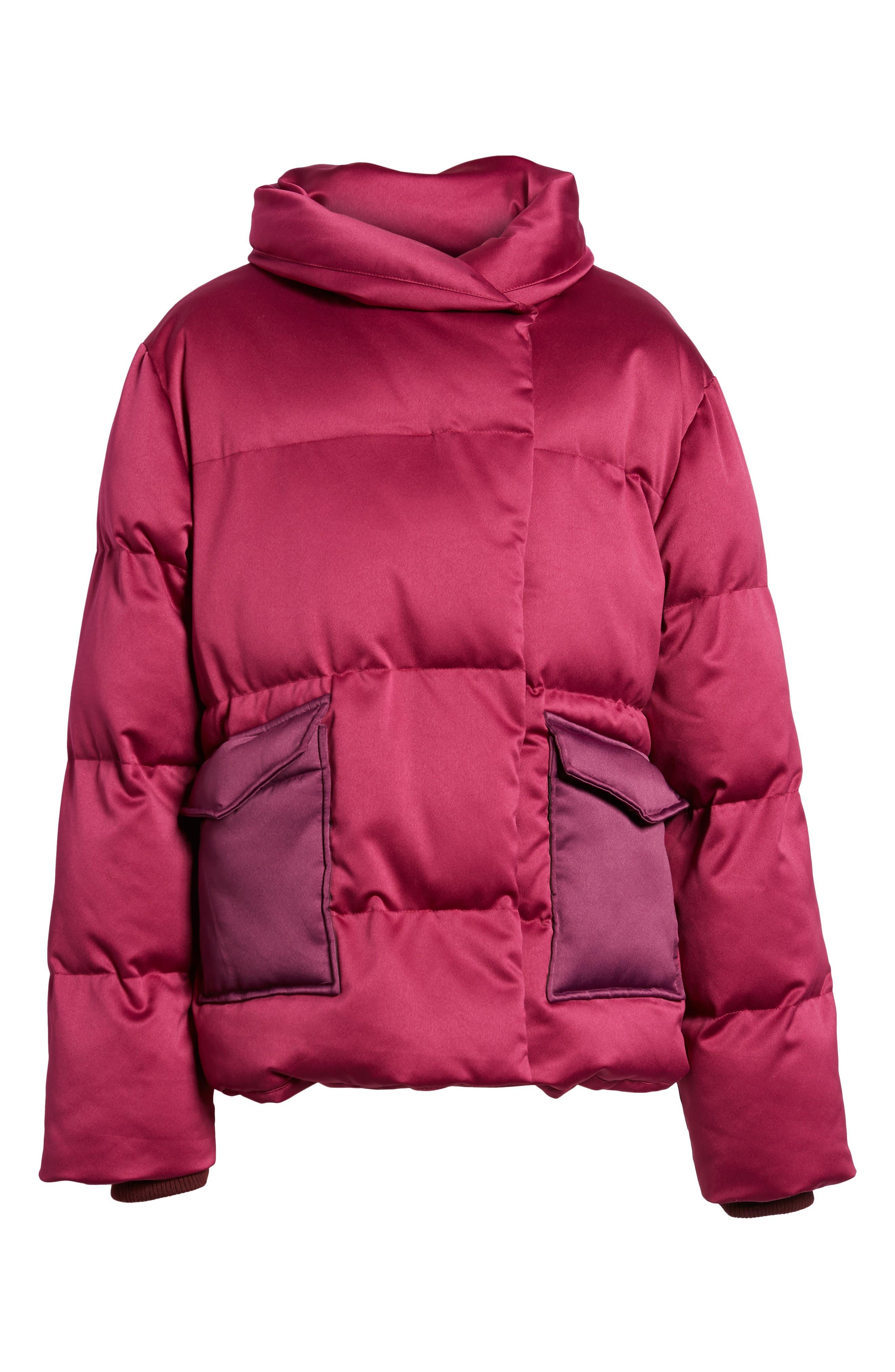 Satin Puffer Jacket,                             Alternate thumbnail 6, color,                             Bright Pink