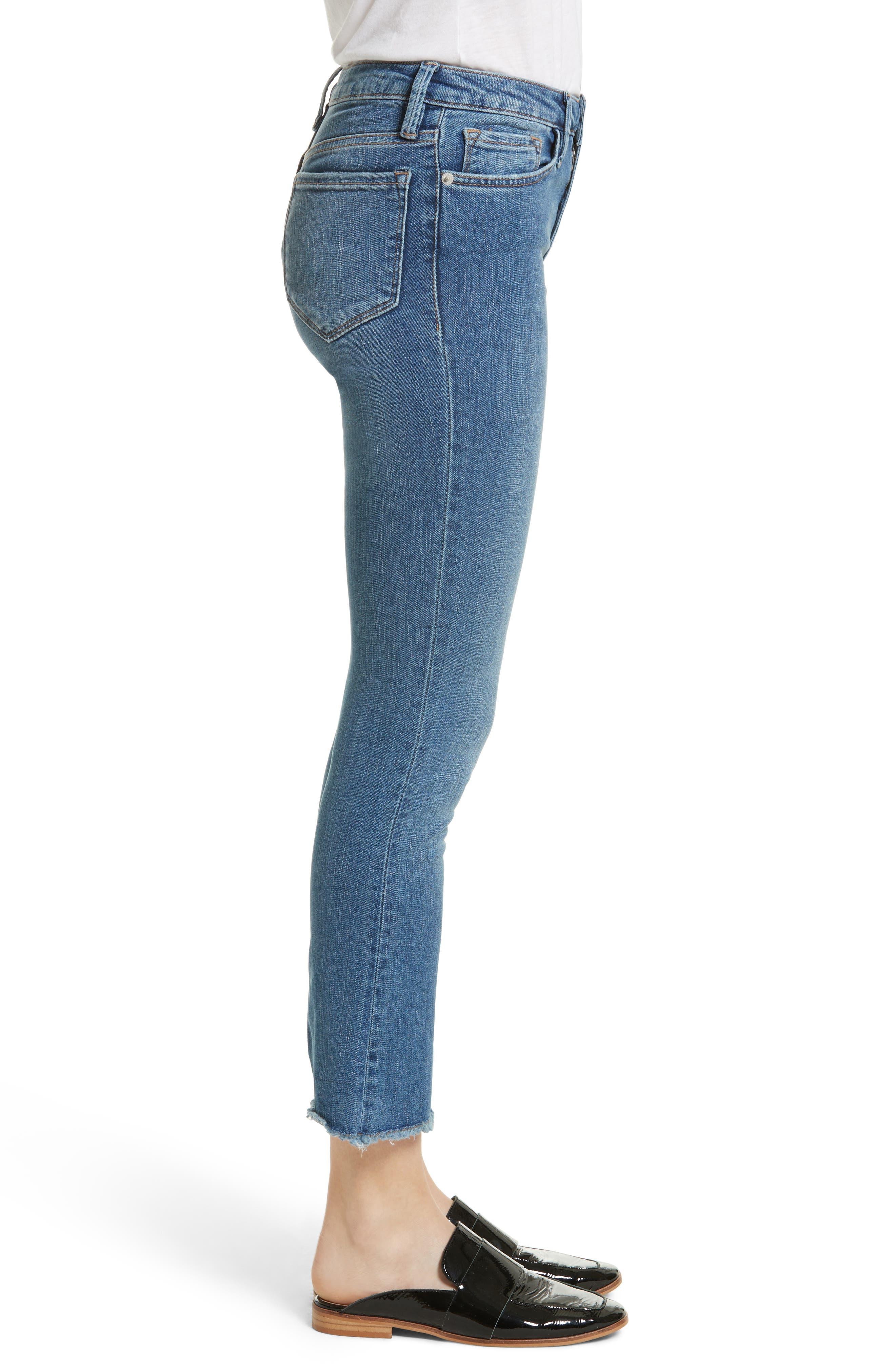 High Waist Crop Straight Leg Jeans,                             Alternate thumbnail 4, color,                             Blue