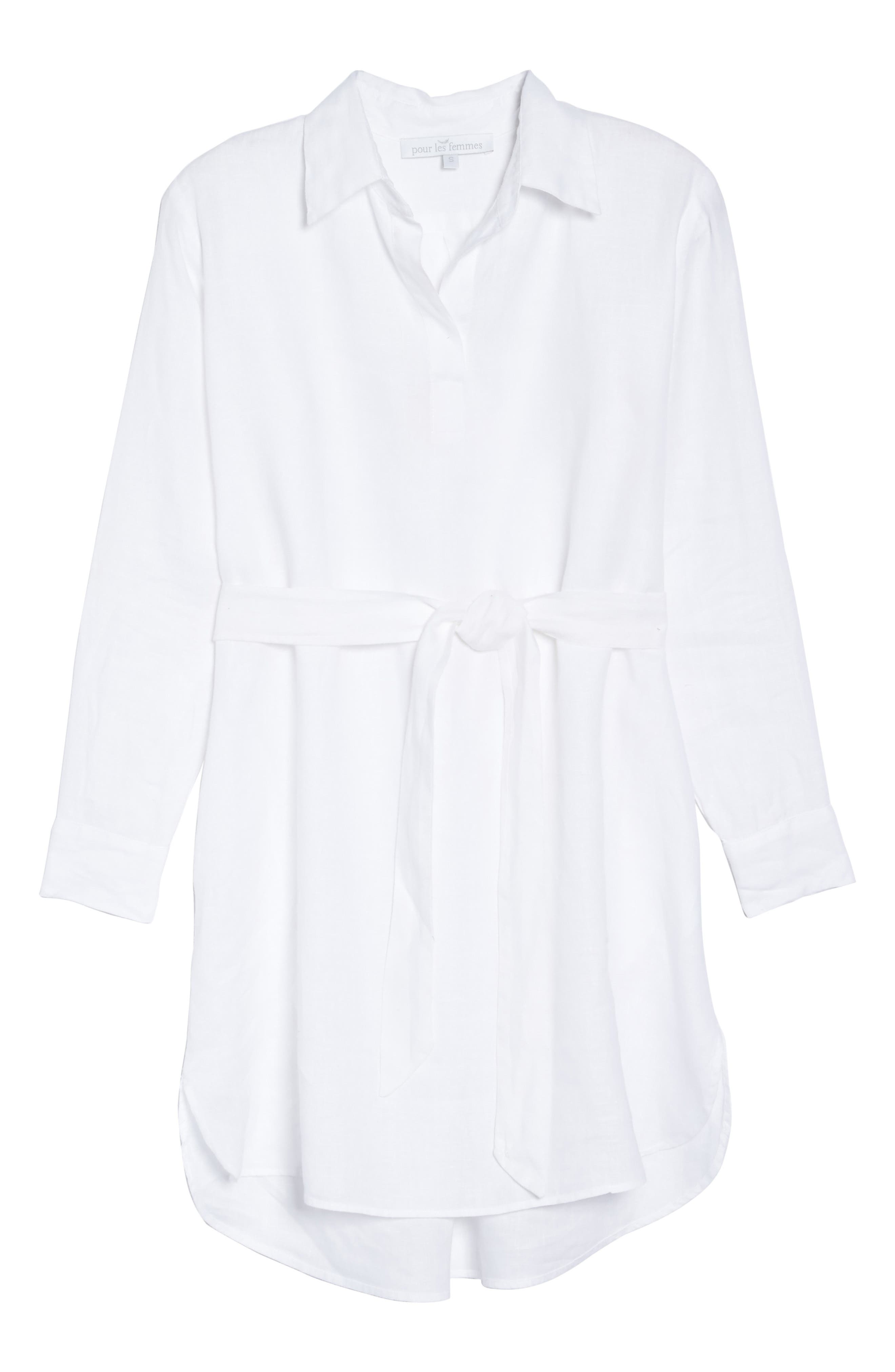 Linen Shirtdress,                             Alternate thumbnail 6, color,                             White