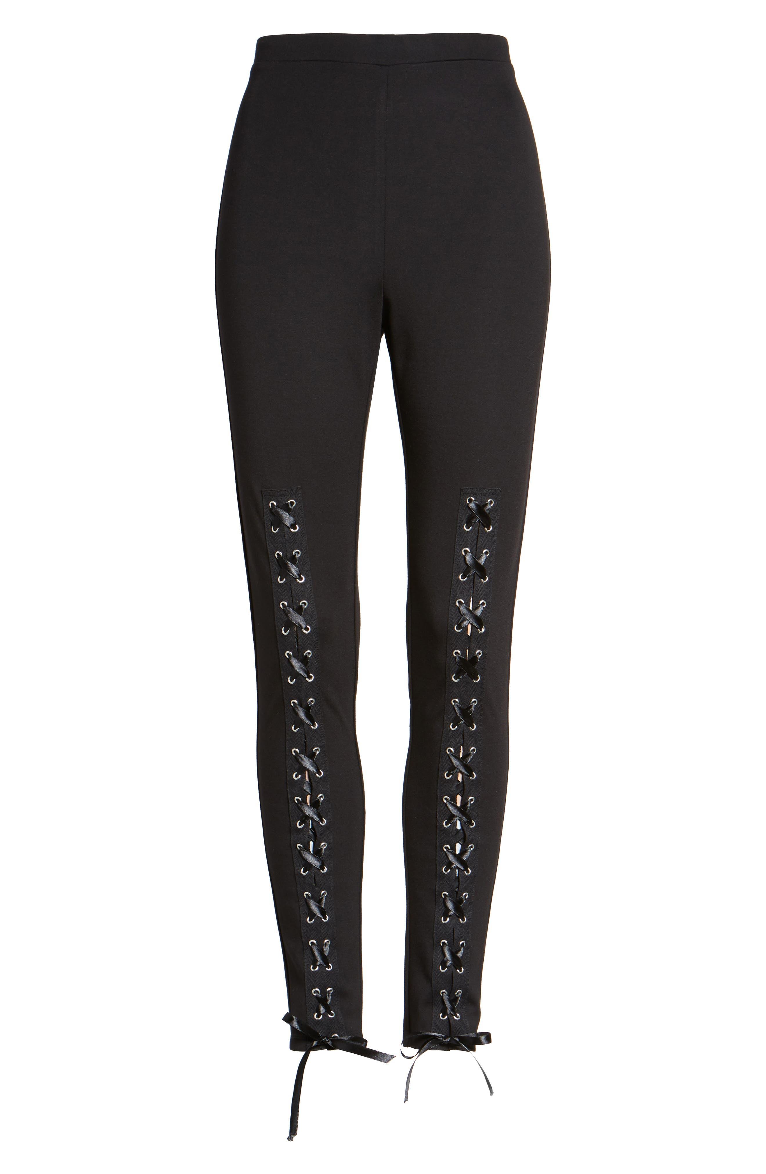Lace-Up Leggings,                             Alternate thumbnail 6, color,                             Black