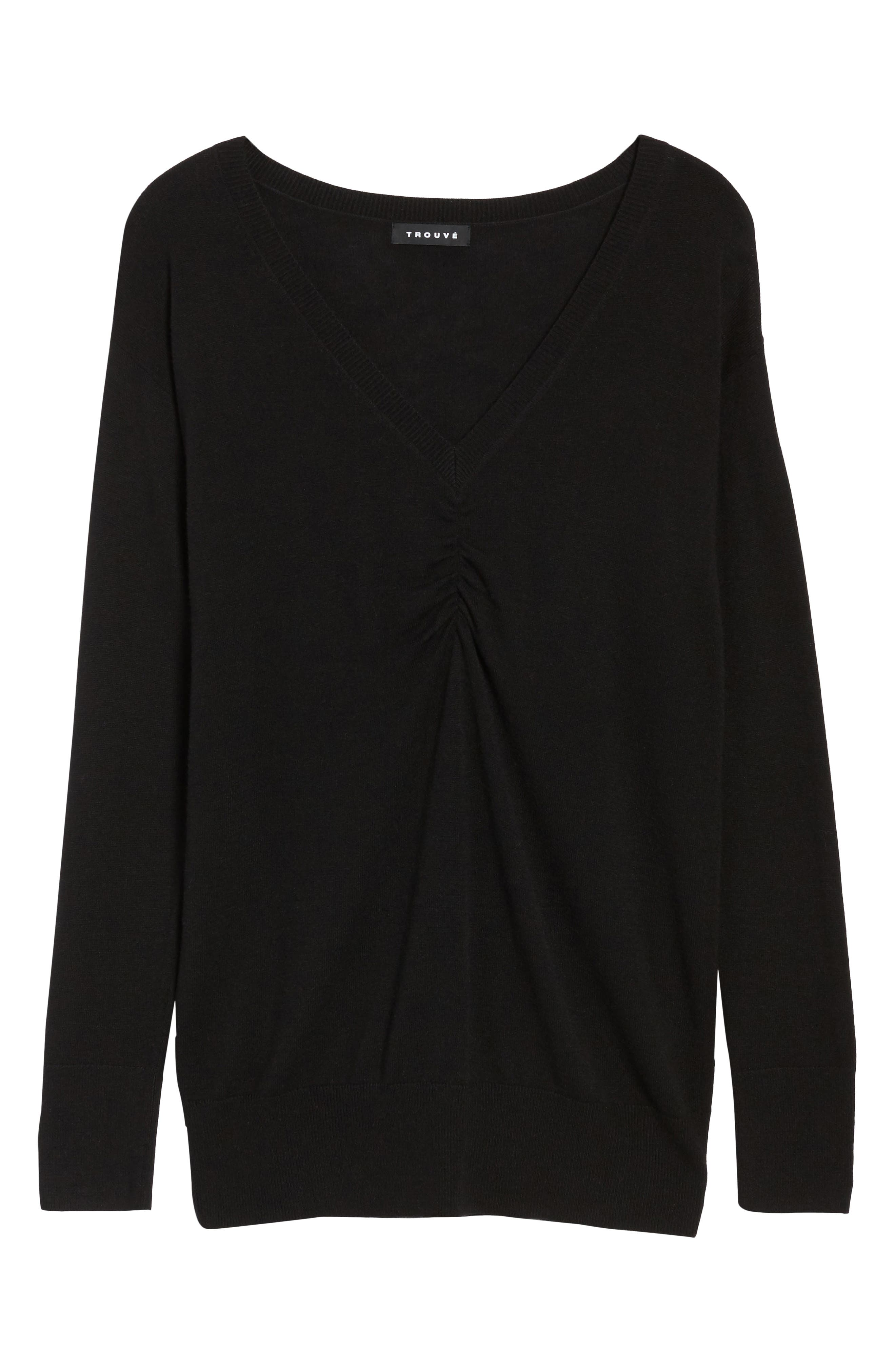 Ruched Sweater,                             Alternate thumbnail 6, color,                             Black