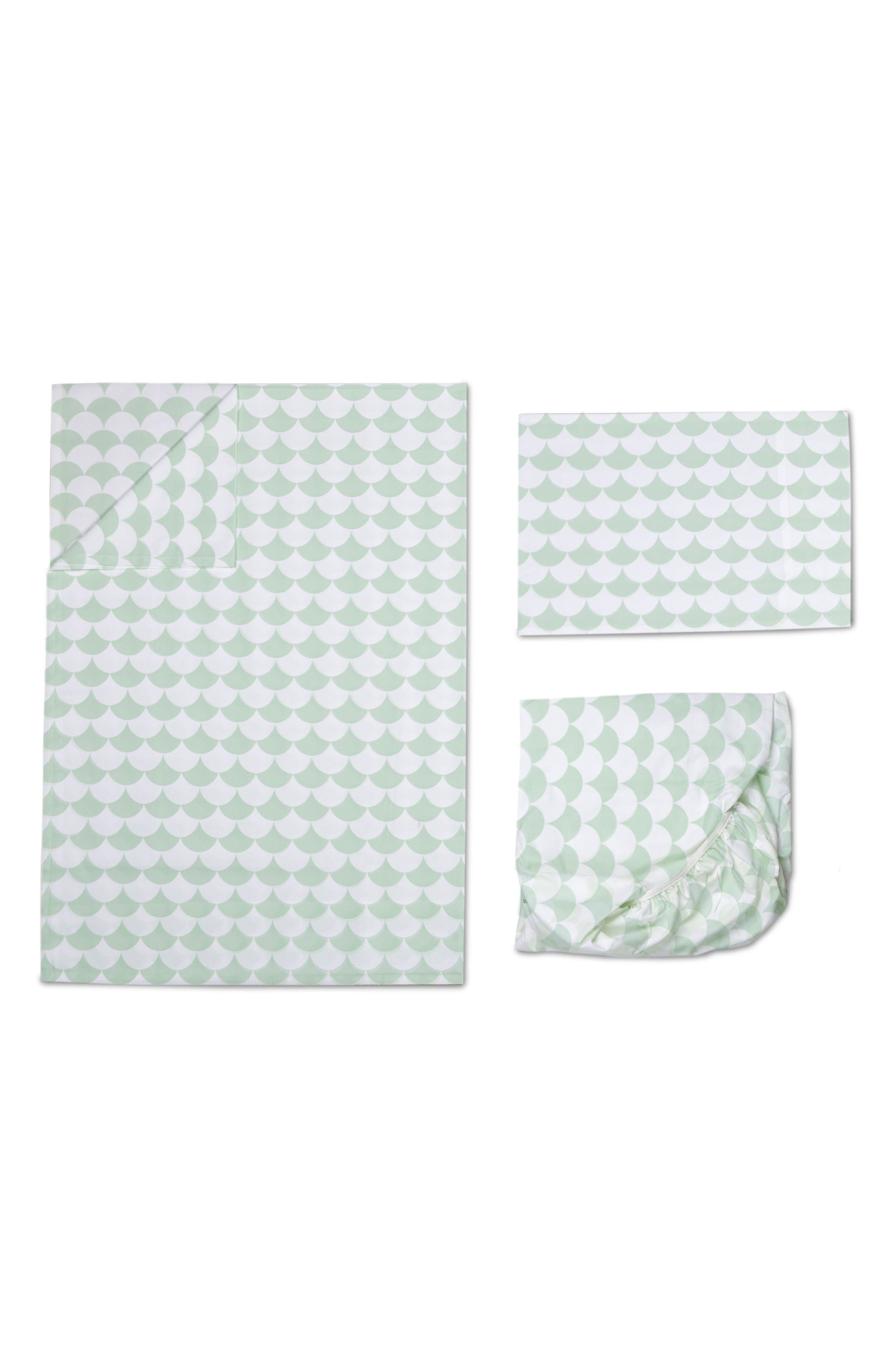 200 Thread Count Toddler Sheet Set,                             Main thumbnail 1, color,                             Sea Glass Green Scallops