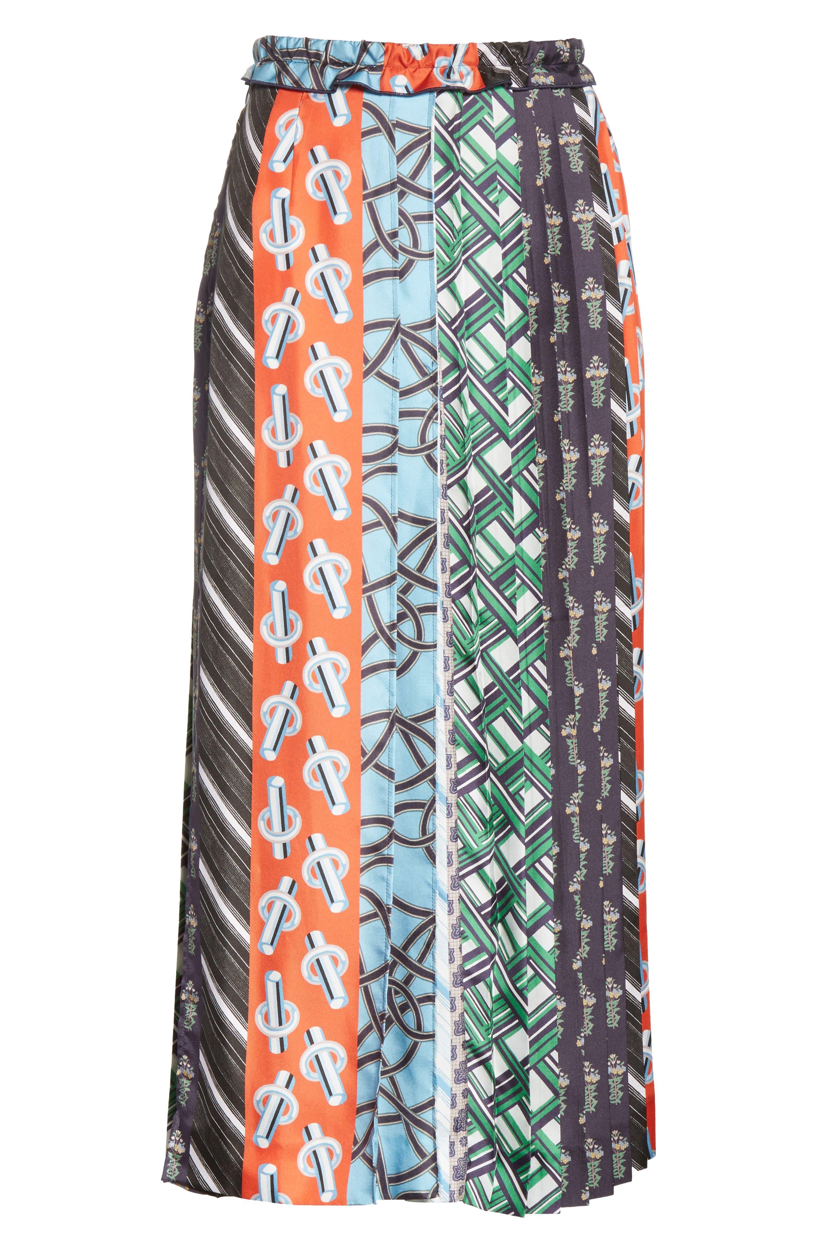 Pleated Mix Print Silk Skirt,                             Alternate thumbnail 7, color,                             Multicolore