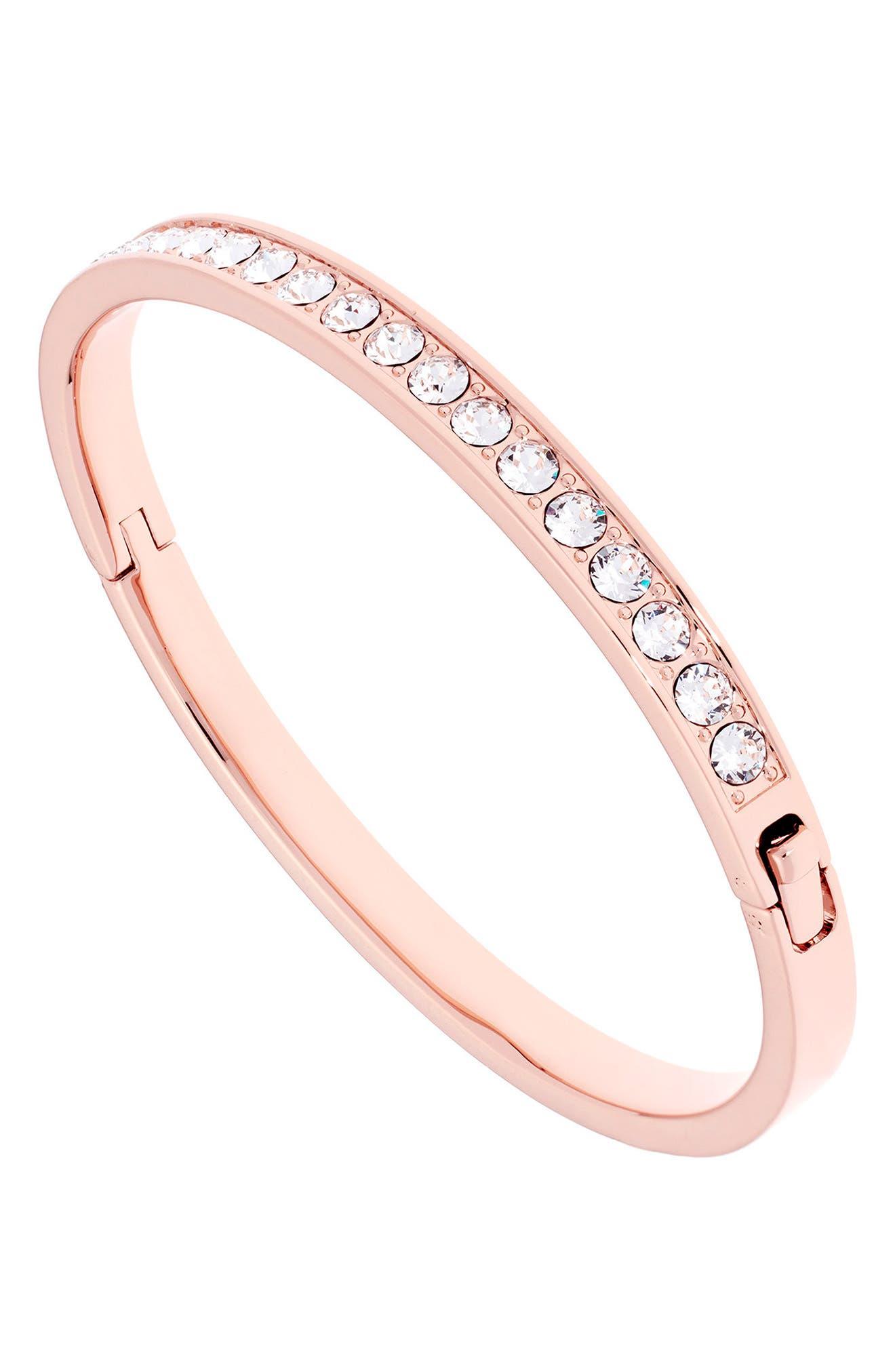 Clemara Hinge Bangle Bracelet,                             Alternate thumbnail 2, color,                             Crystal
