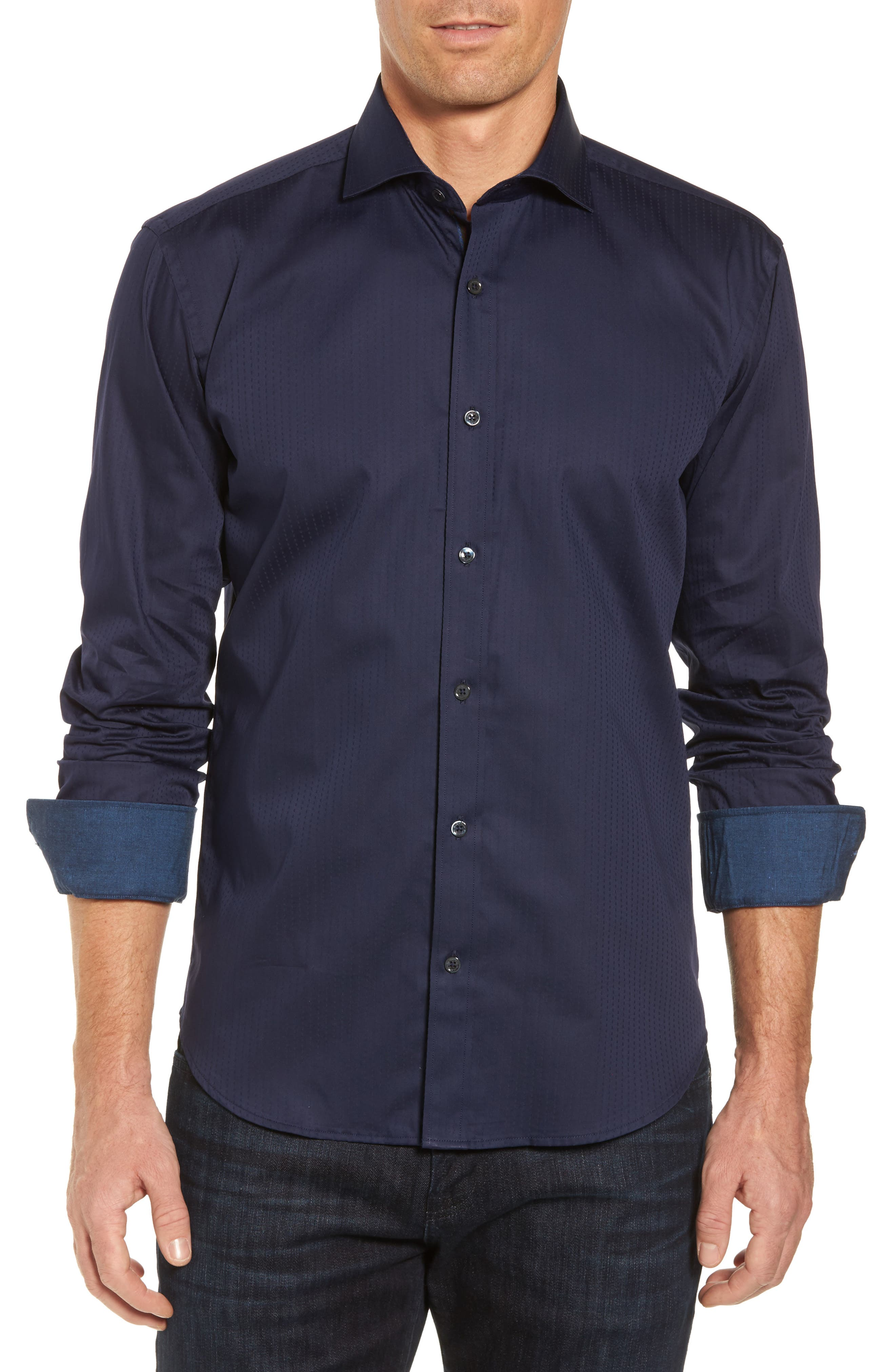 Classic Fit Print Sport Shirt,                         Main,                         color, Midnight