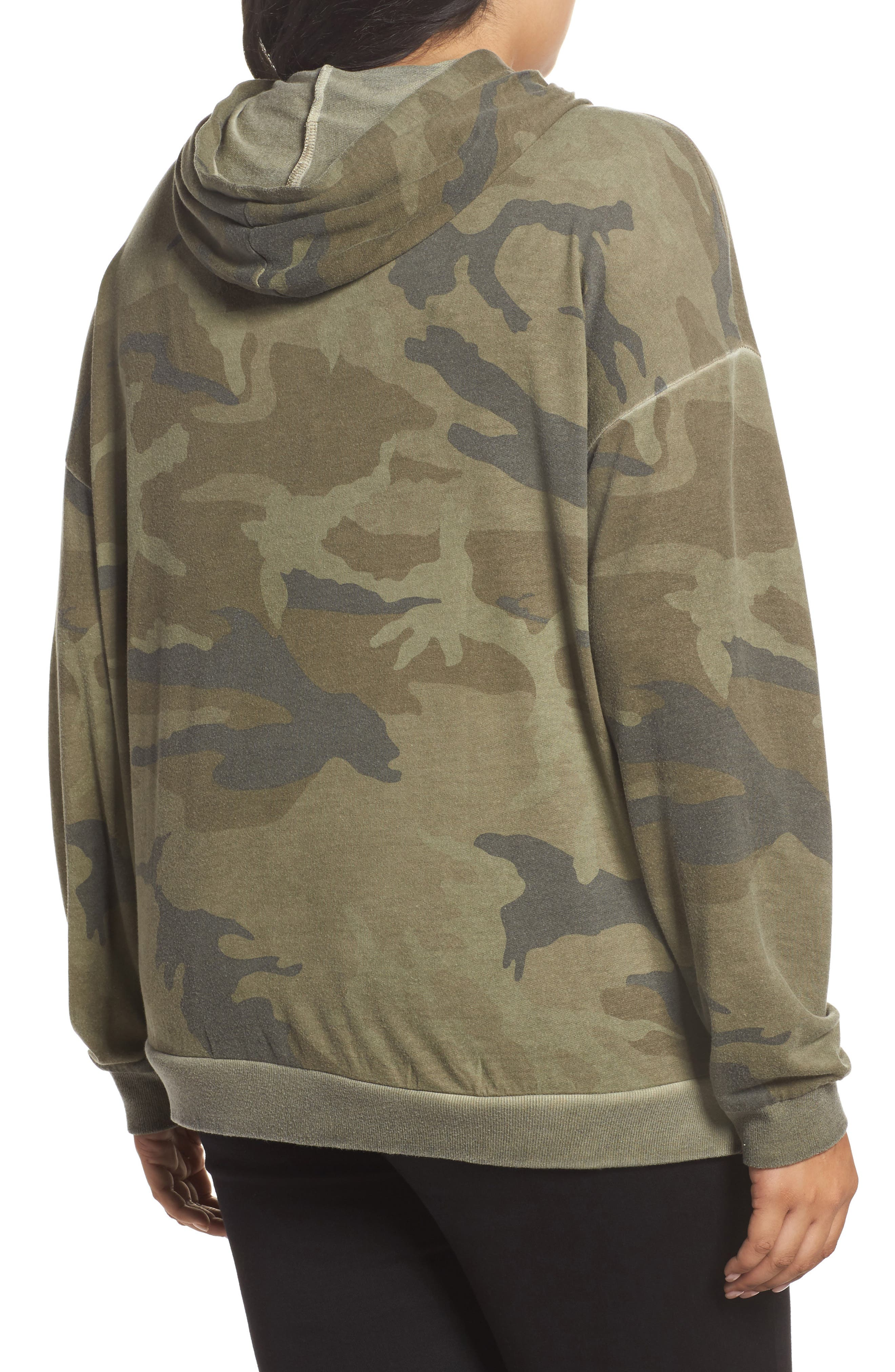 Camo Print Hoodie,                             Alternate thumbnail 2, color,                             Military Olive