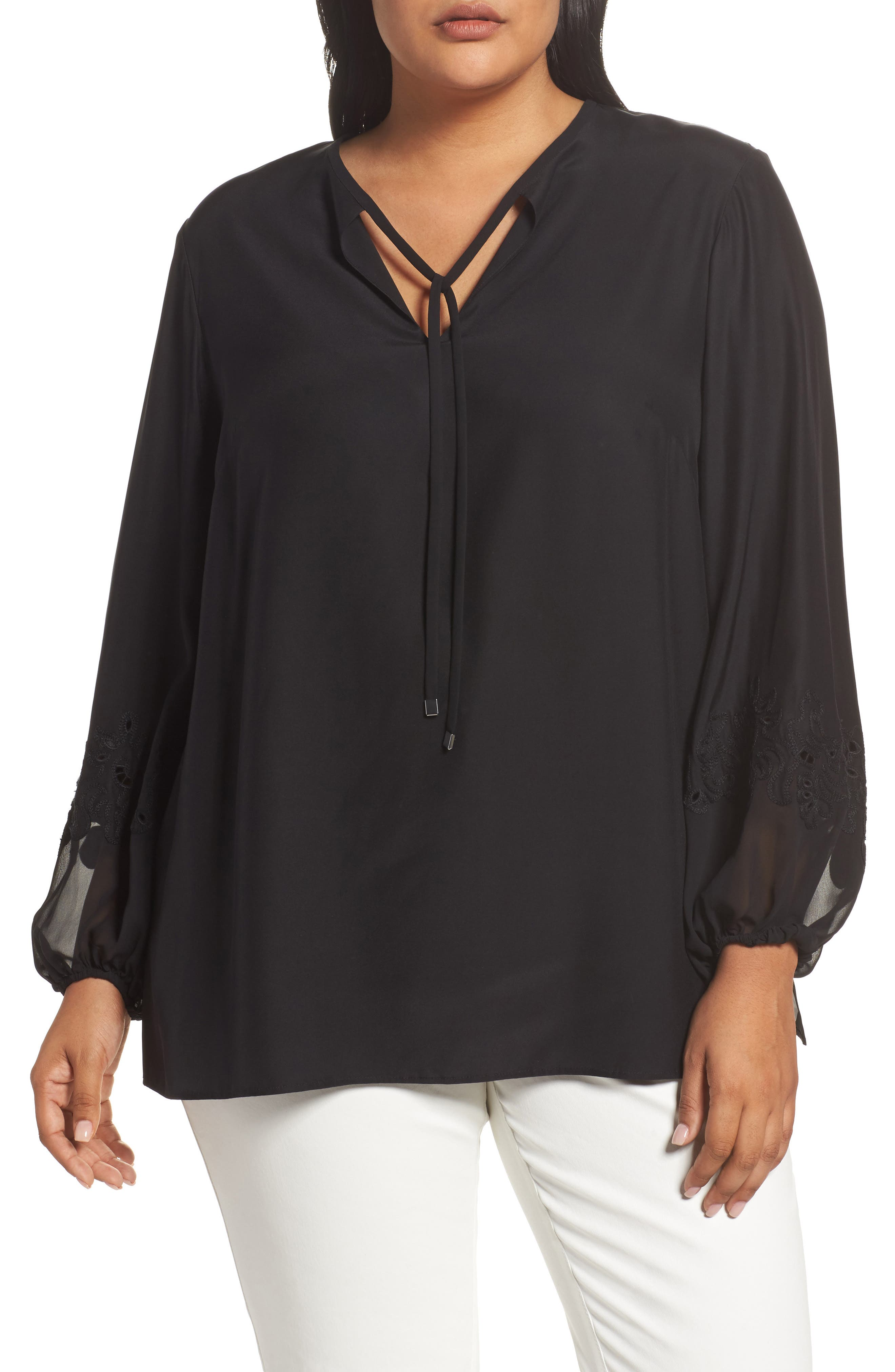 Main Image - Lafayette 148 New York Eli Embroidered Cuff Silk Blouse (Plus Size)