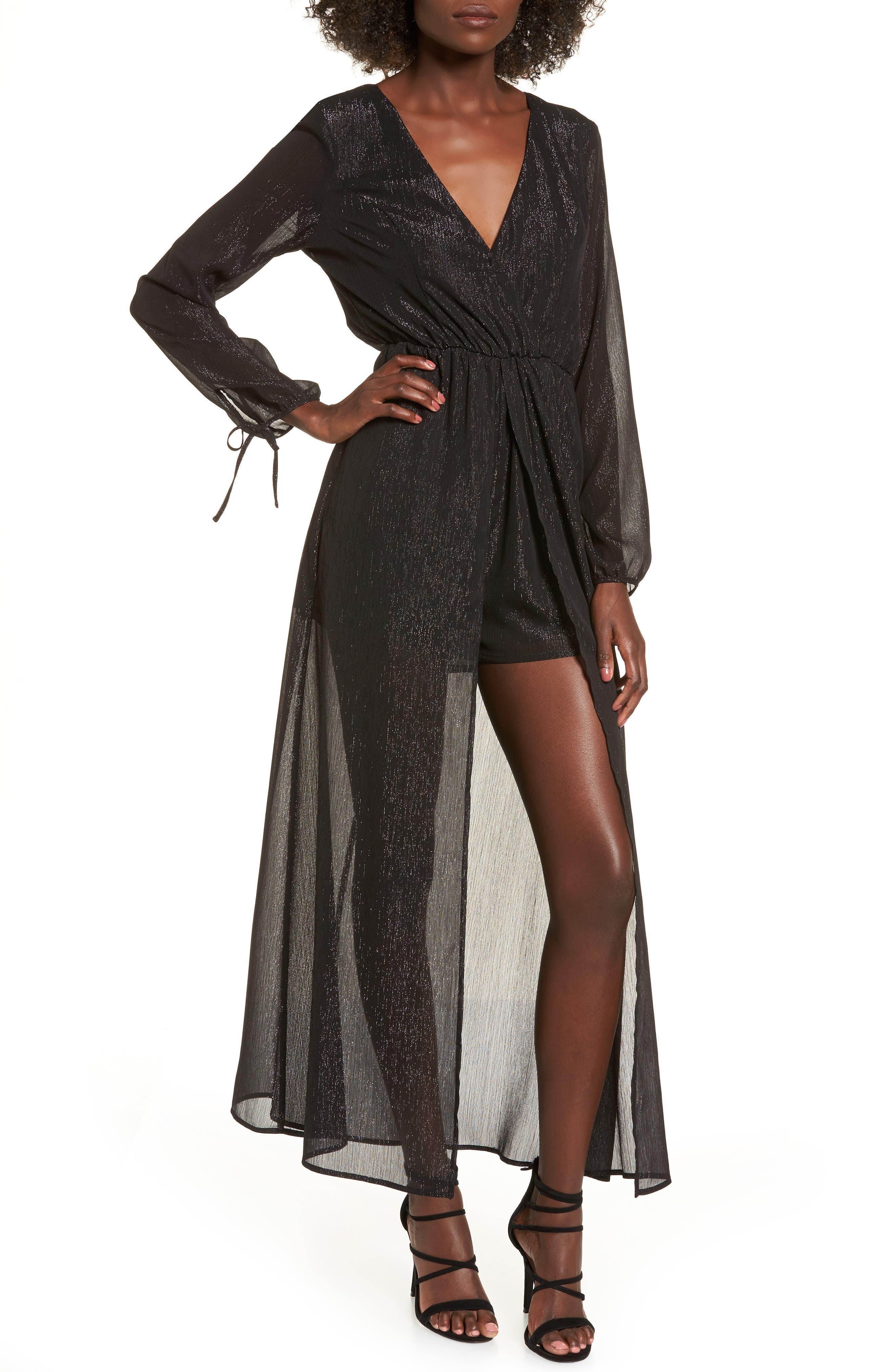 Metallic Surplice Dress,                         Main,                         color, Black