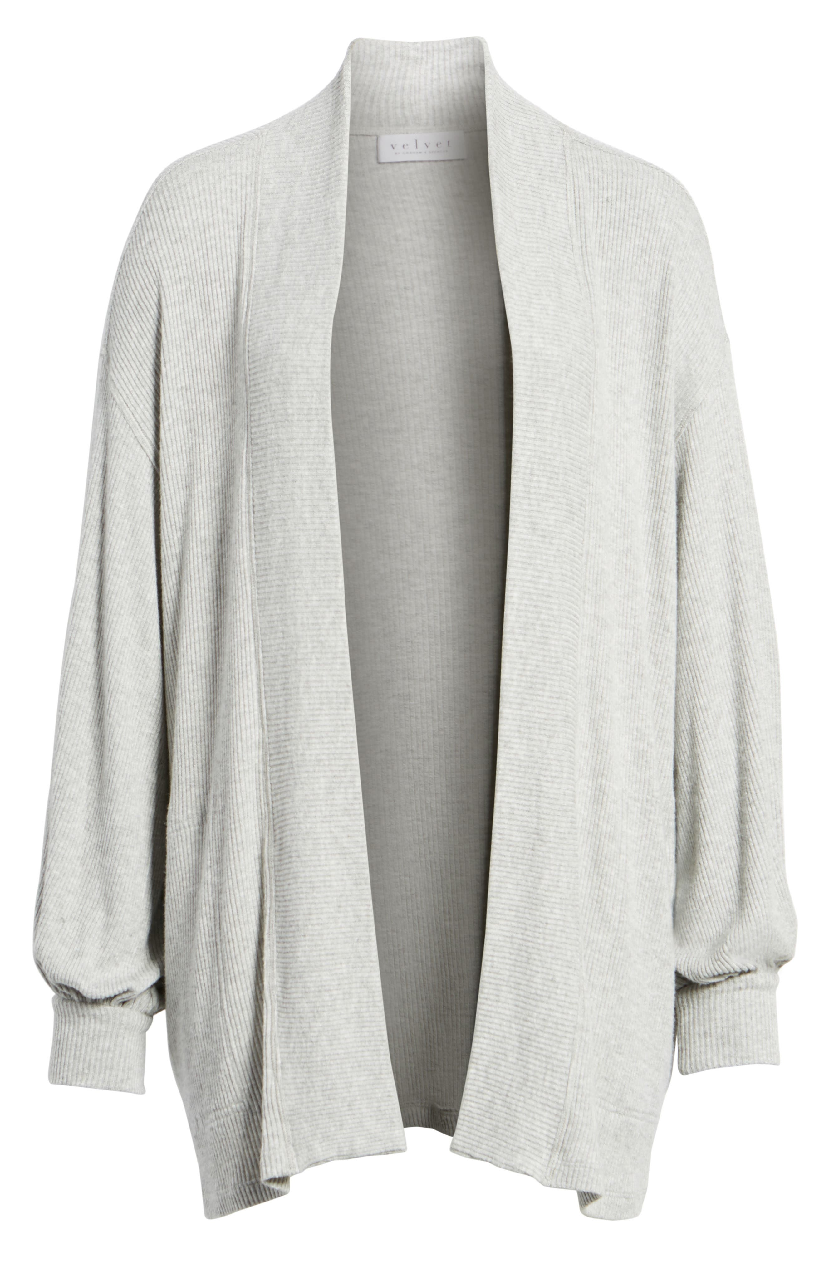 Ribbed Blouson Sleeve Cardigan,                             Alternate thumbnail 6, color,                             Heather Grey