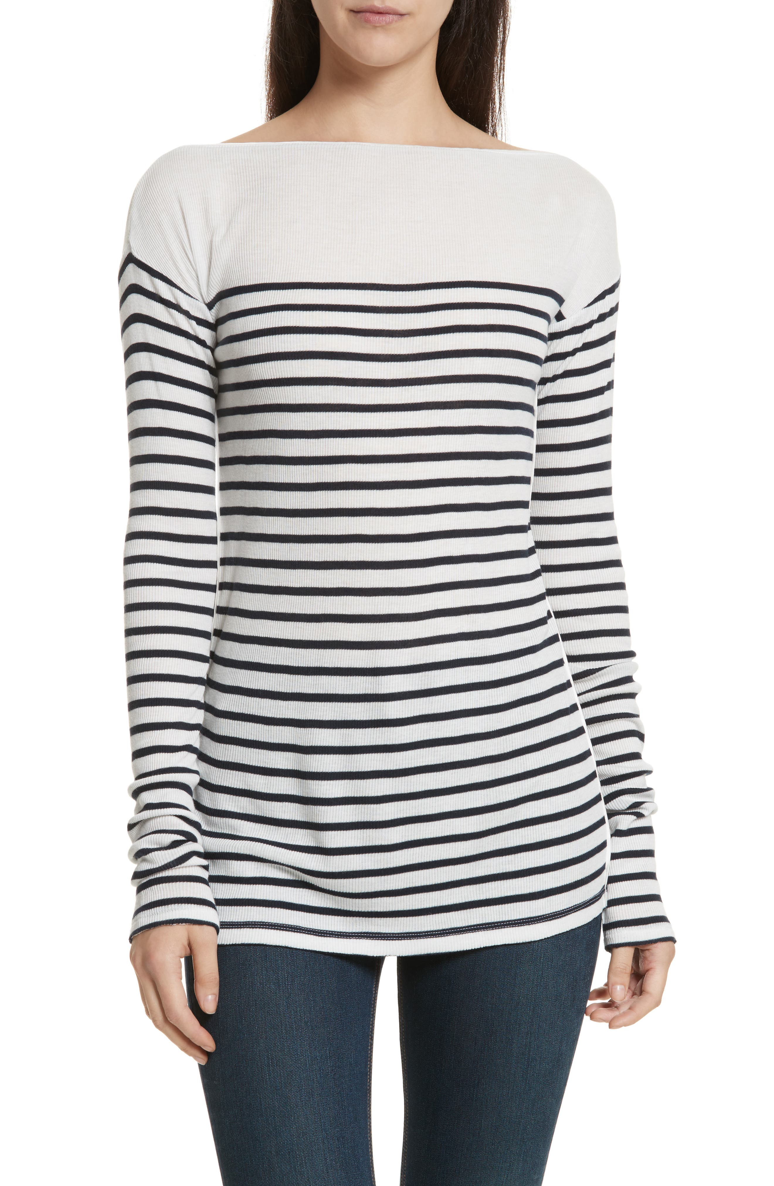 Madison Stripe Long Sleeve Top,                         Main,                         color, Ivory/ Navy