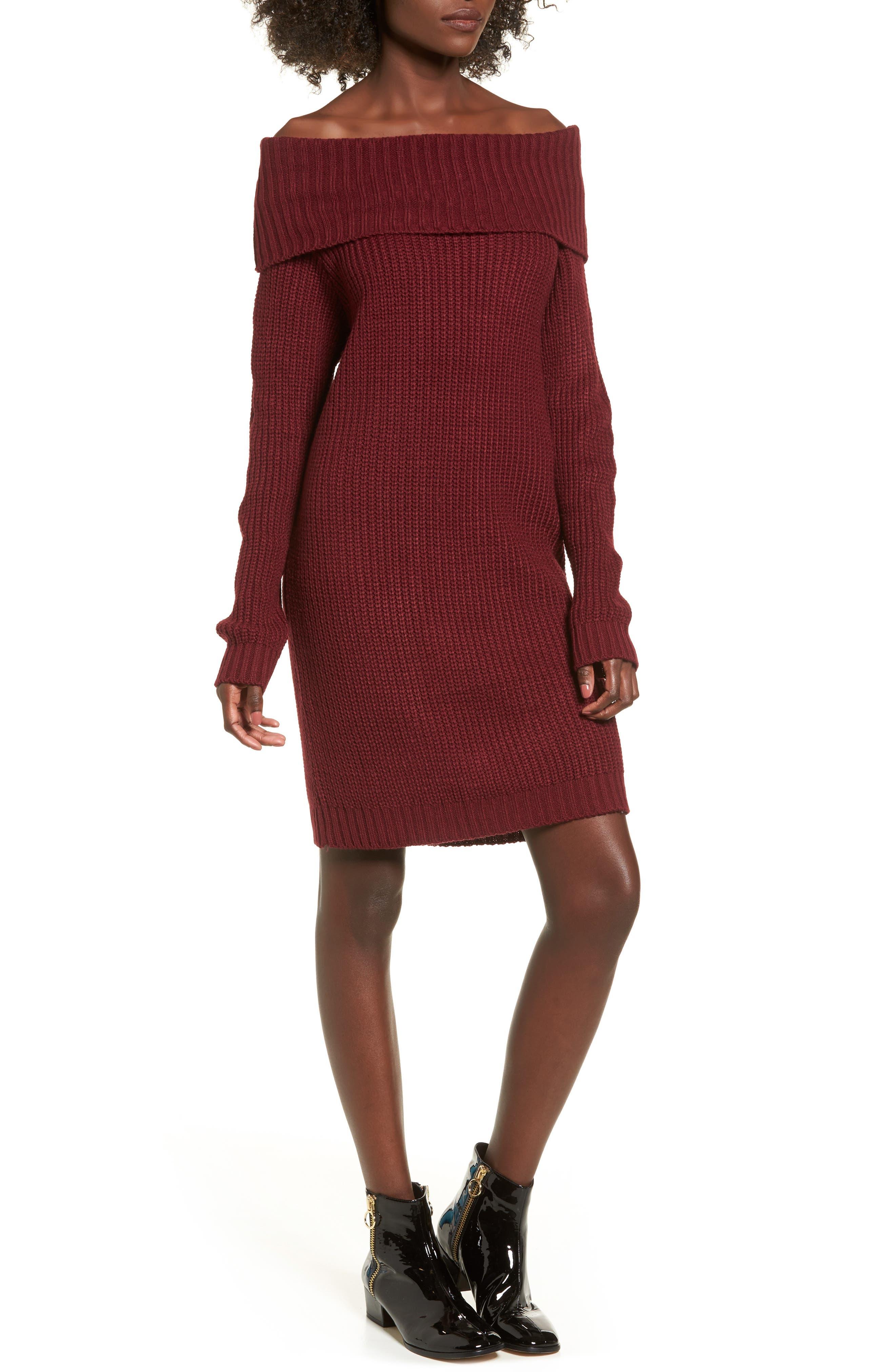 Foldover Off the Shoulder Sweater Dress,                         Main,                         color, Burgundy Ginger