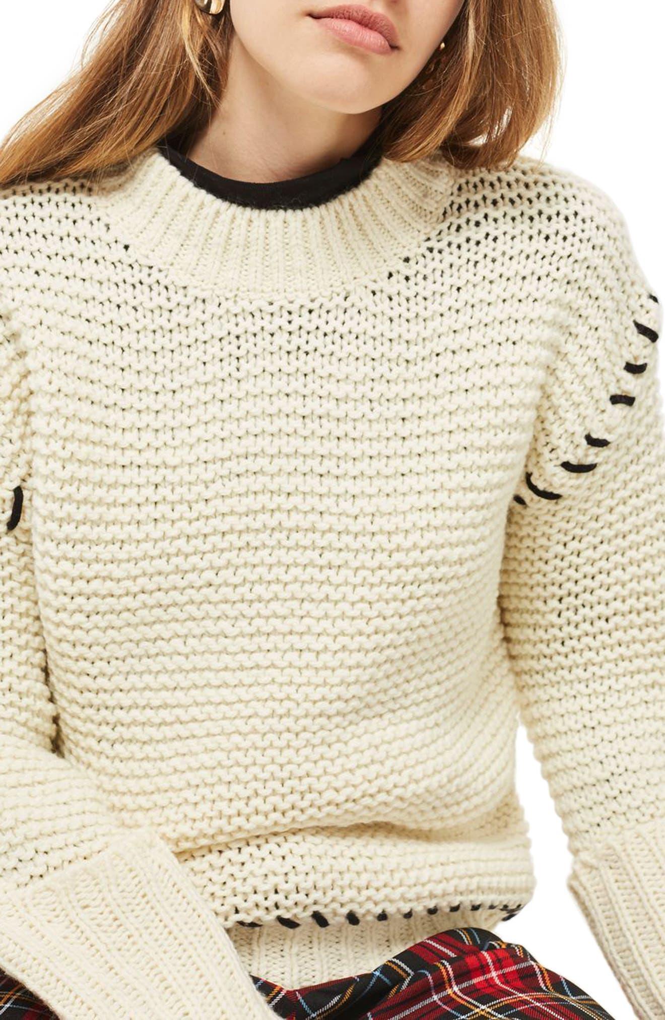 Whipstitch Sweater,                             Alternate thumbnail 4, color,                             Cream Multi