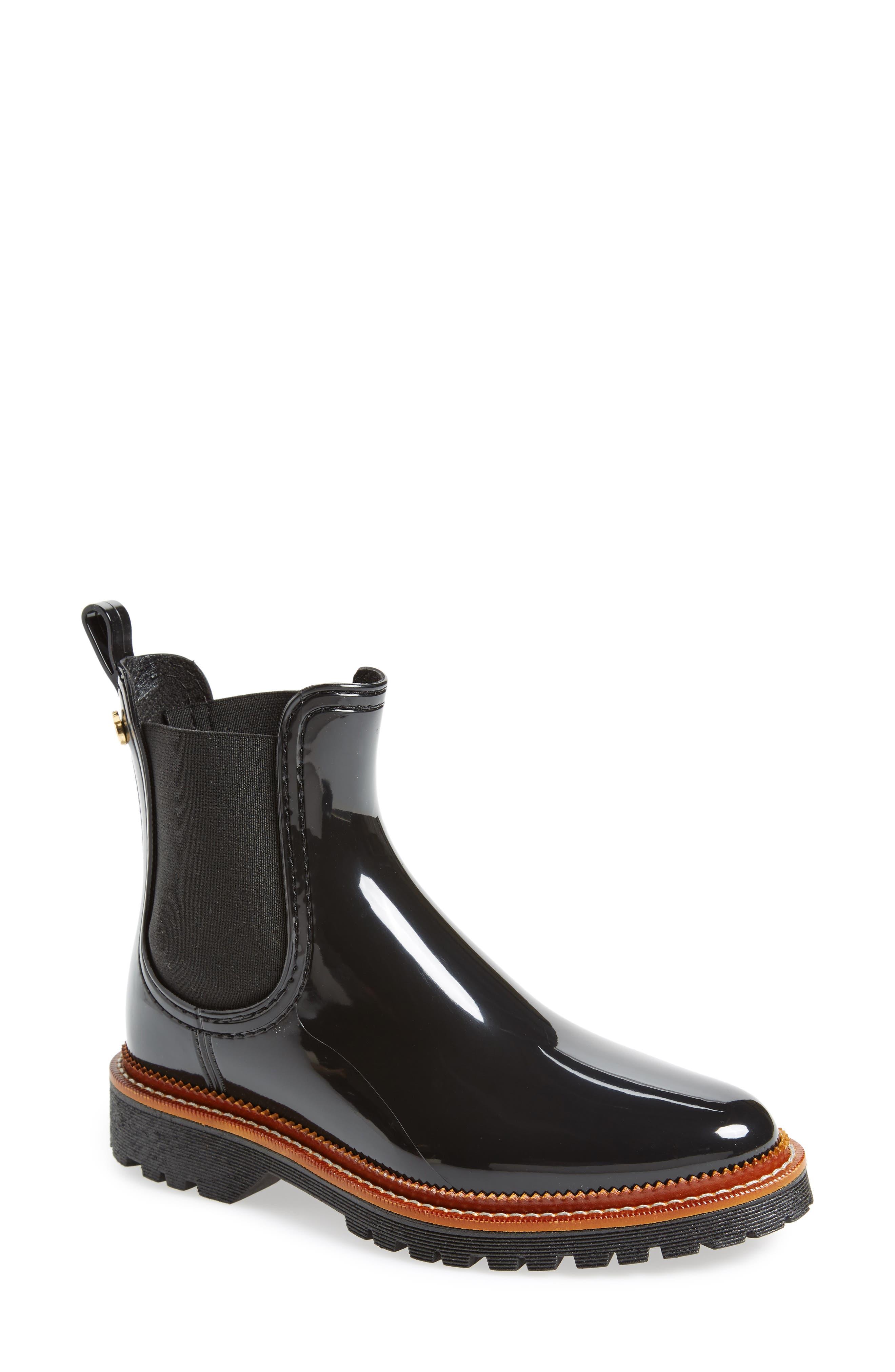 April Waterproof Chelsea Boot,                             Main thumbnail 1, color,                             Black Gloss