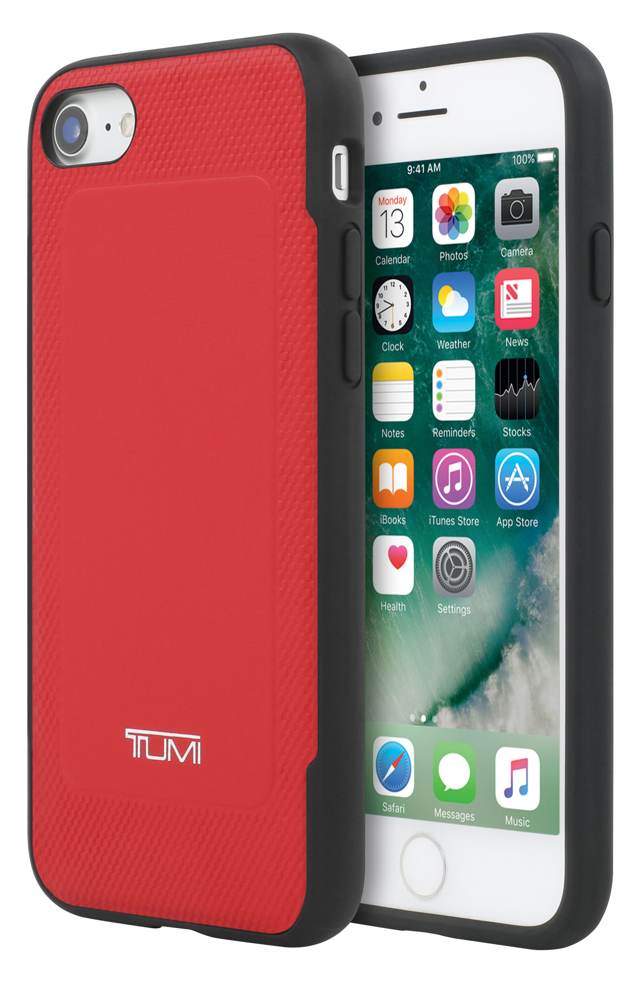 Leather iPhone 8 Case,                             Alternate thumbnail 4, color,                             Red