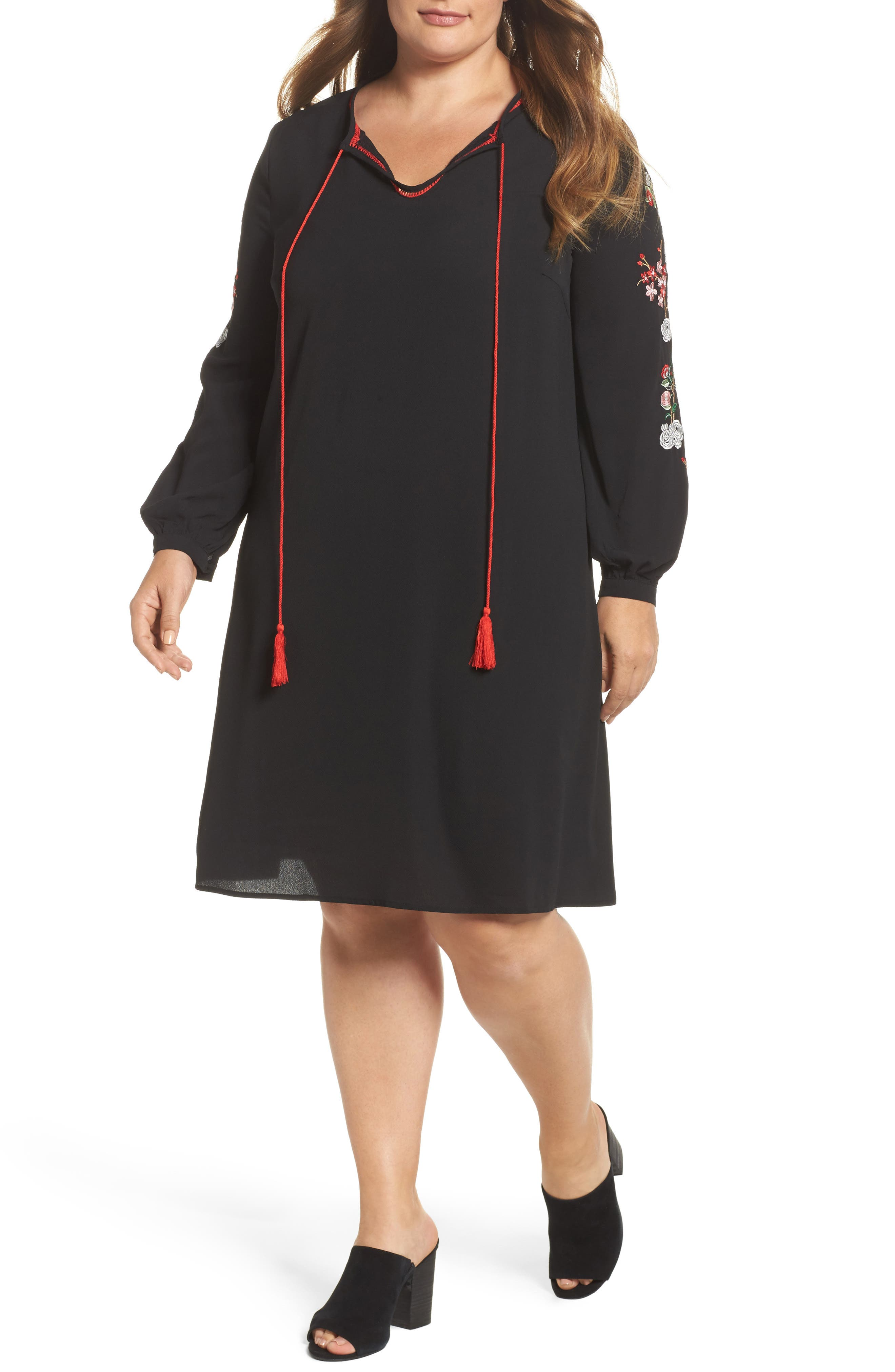 Floral Embroidered Shift Dress,                             Main thumbnail 1, color,                             Black