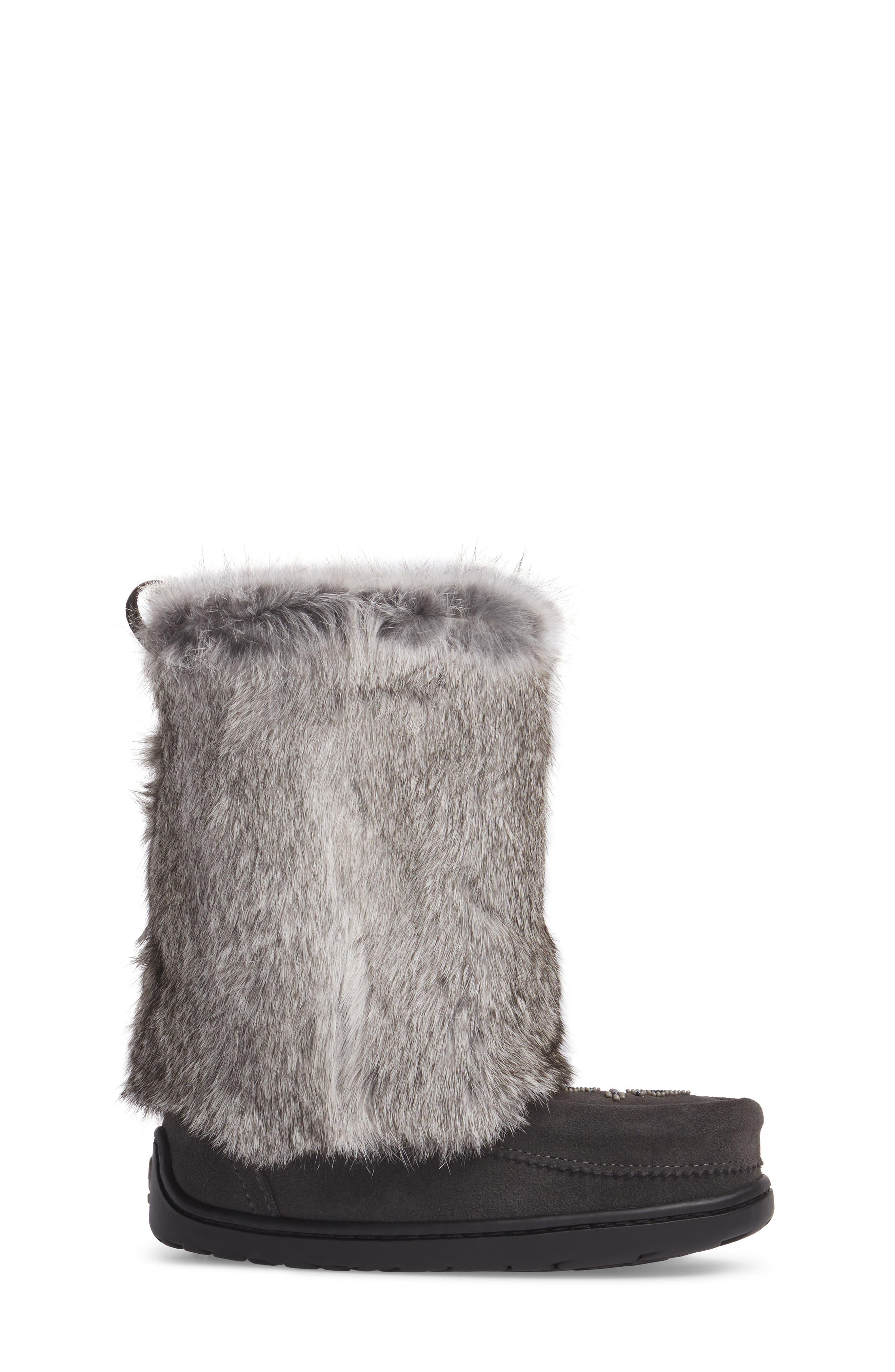 Nordic Genuine Rabbit Fur & Genuine Shearling Mukluk Boot,                             Alternate thumbnail 3, color,                             Charcoal