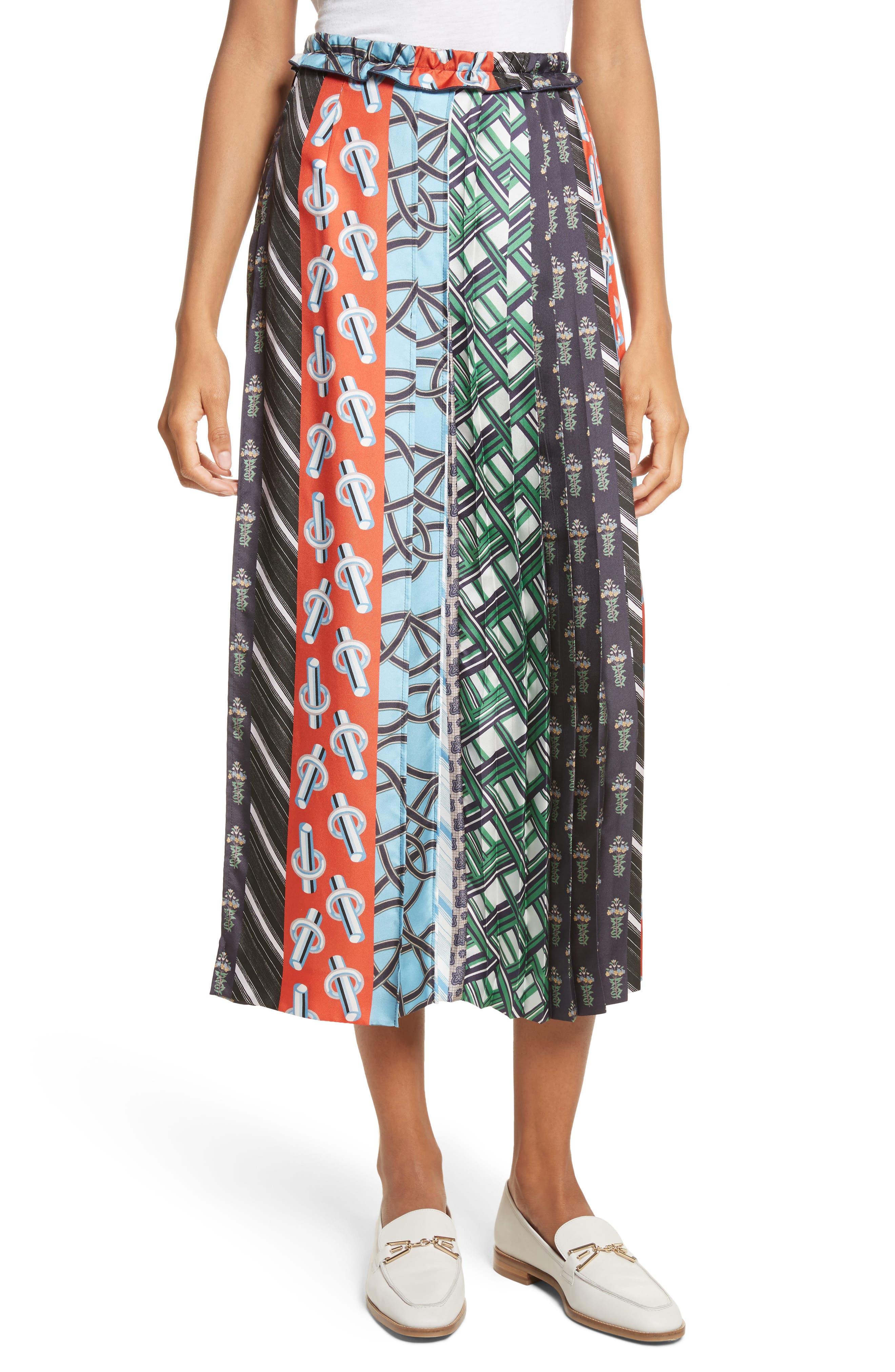 Pleated Mix Print Silk Skirt,                             Main thumbnail 1, color,                             Multicolore