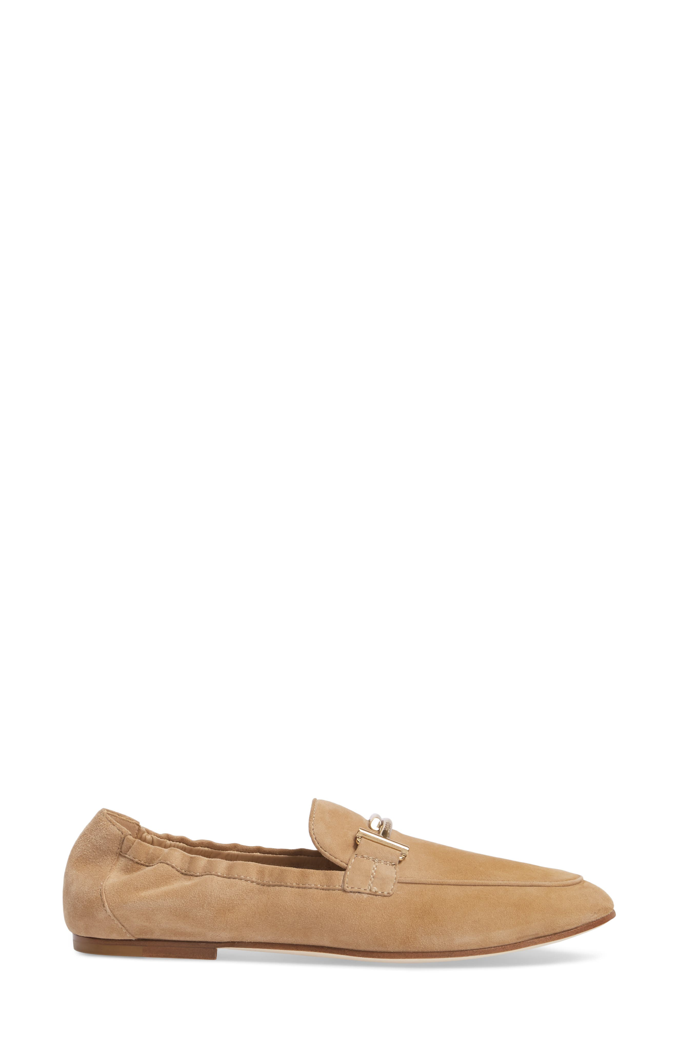 Double T Scrunch Loafer,                             Alternate thumbnail 3, color,                             Tan