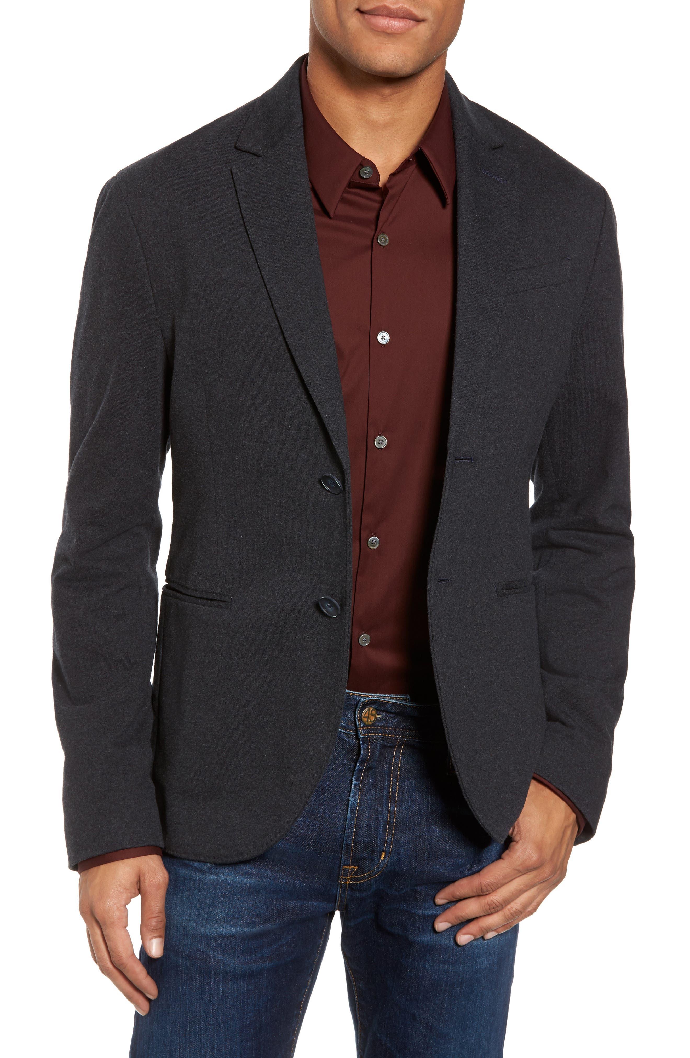 Tailored Jersey Jacket,                             Main thumbnail 1, color,                             Heather Dark Navy