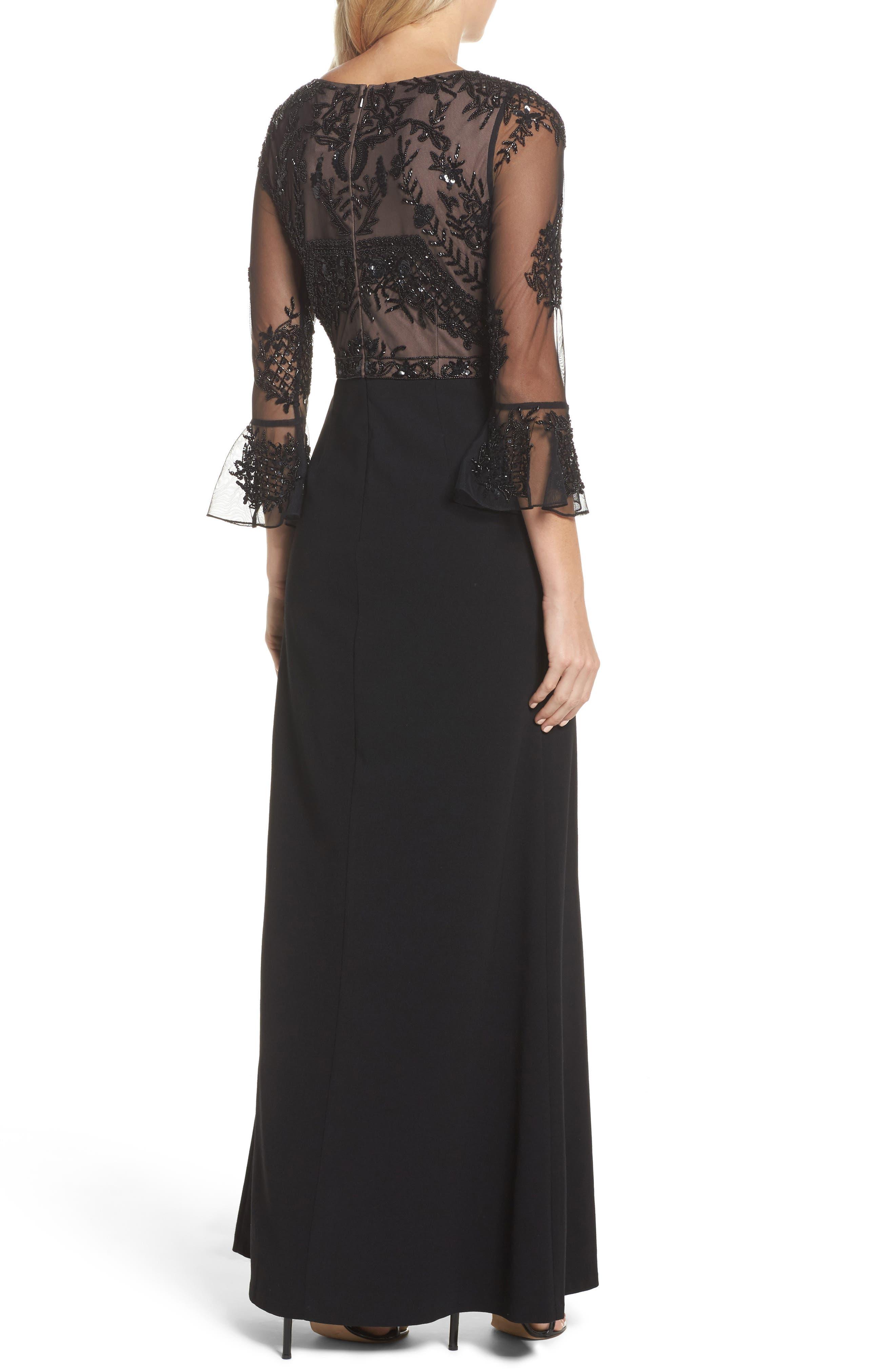 Embellished Ruffle Sleeve Mesh & Crepe Gown,                             Alternate thumbnail 2, color,                             Black