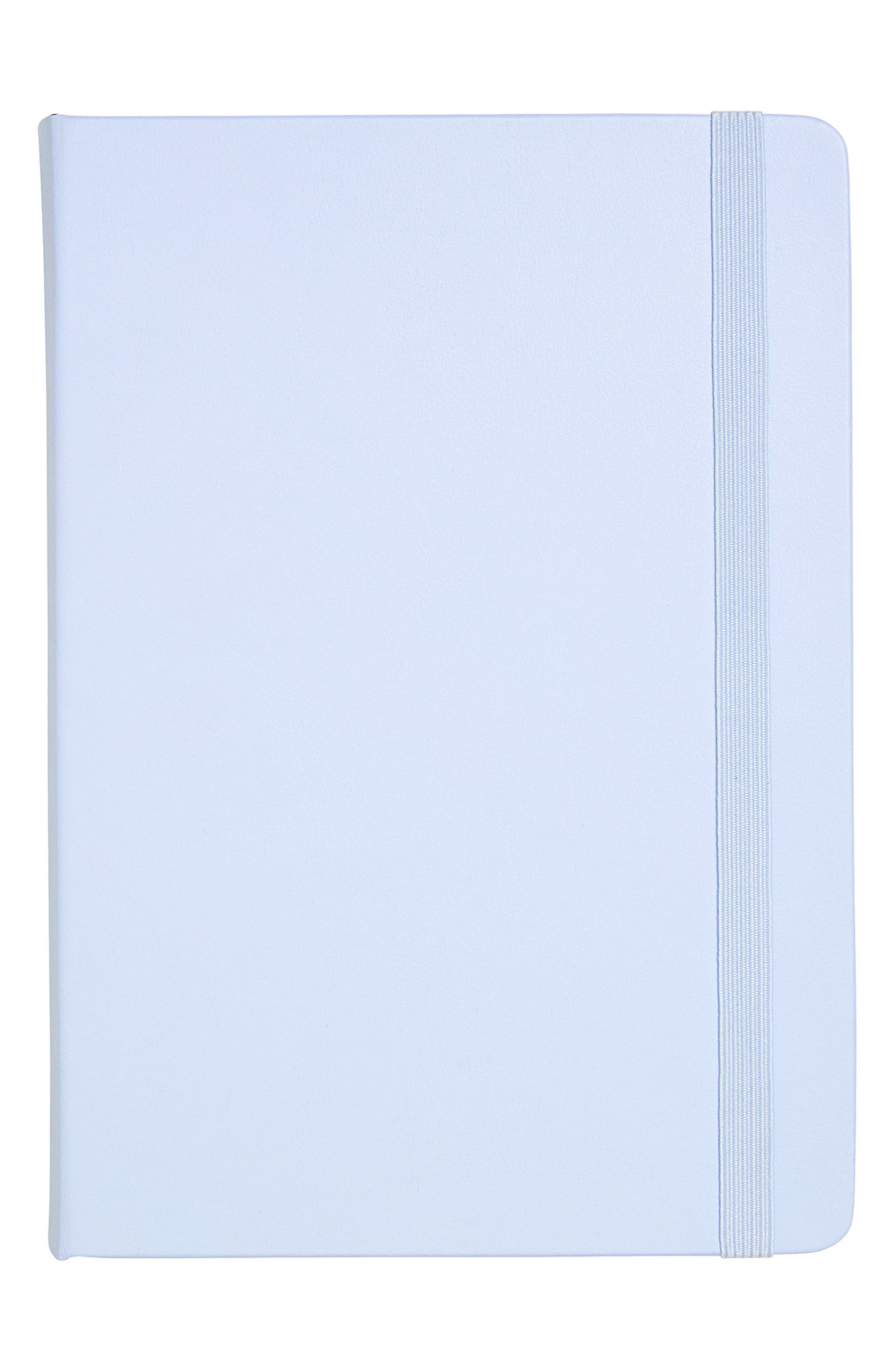 'Time is Now' Leather Notebook,                         Main,                         color, Soft Blue