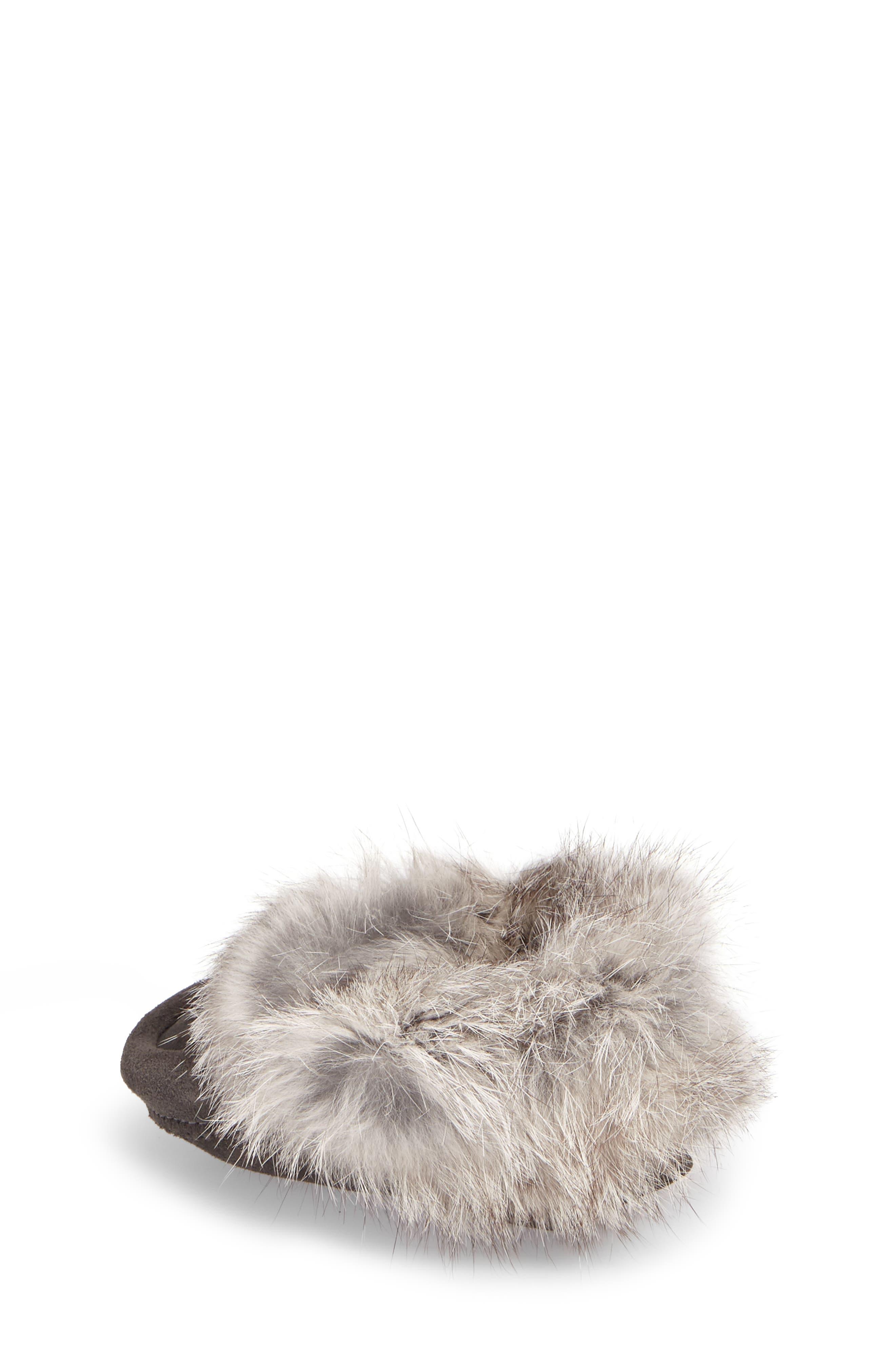 Genuine Rabbit Fur Moccasin,                             Alternate thumbnail 2, color,                             Charcoal