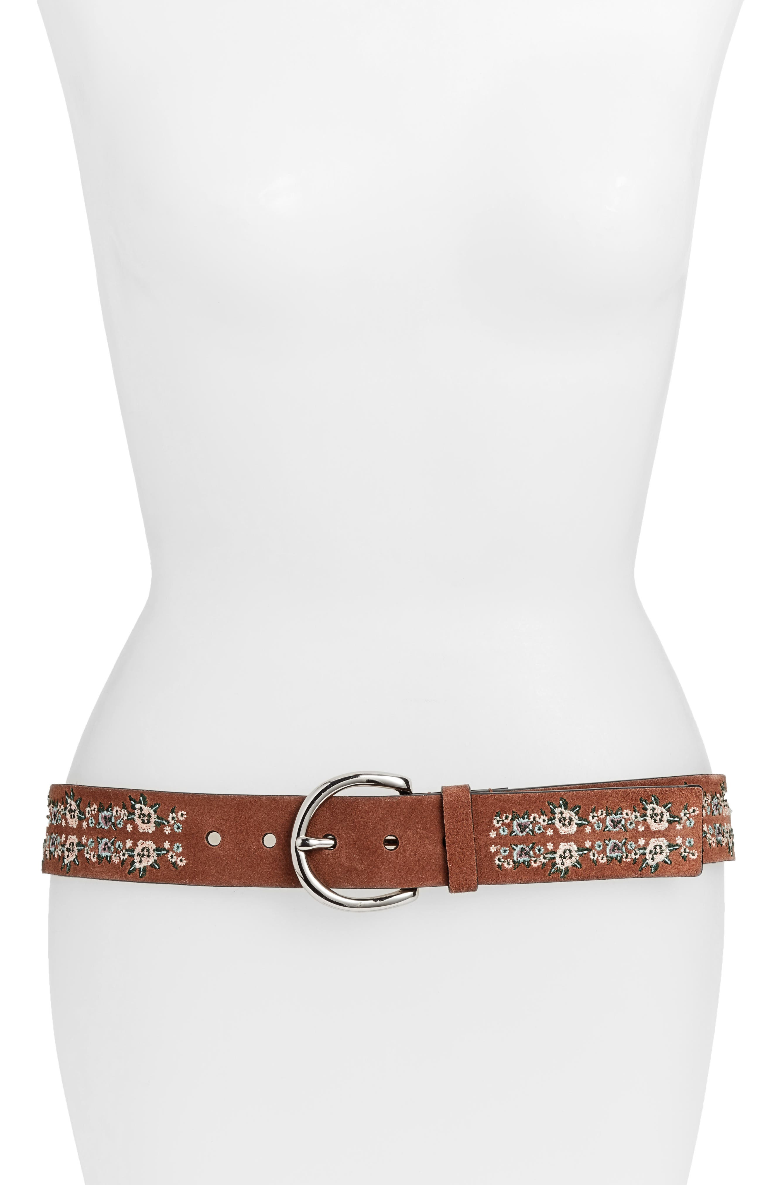 Selena Embroidered Leather Belt,                         Main,                         color, Luggage