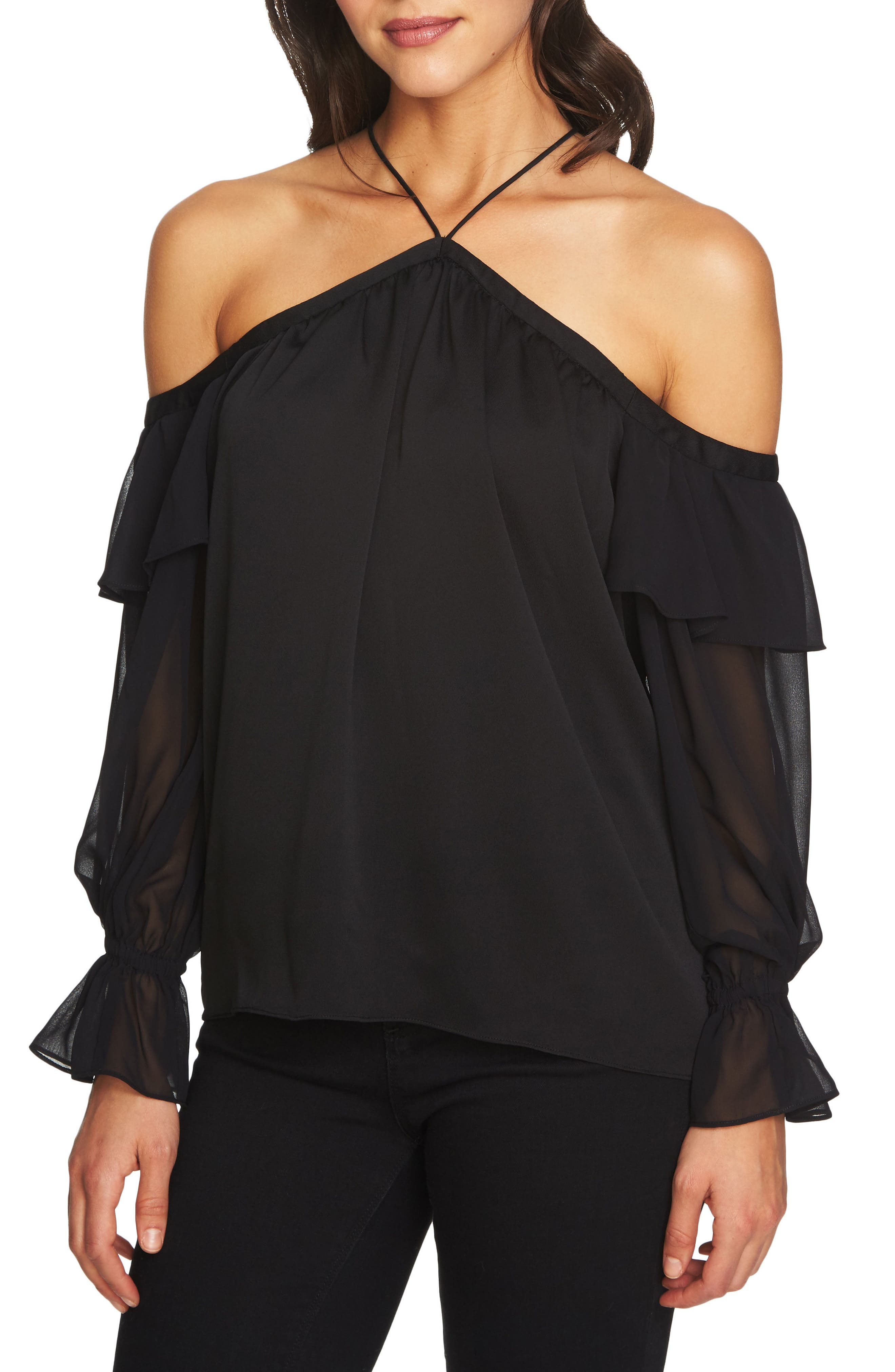 1.STATE Cold Shoulder Halter Top