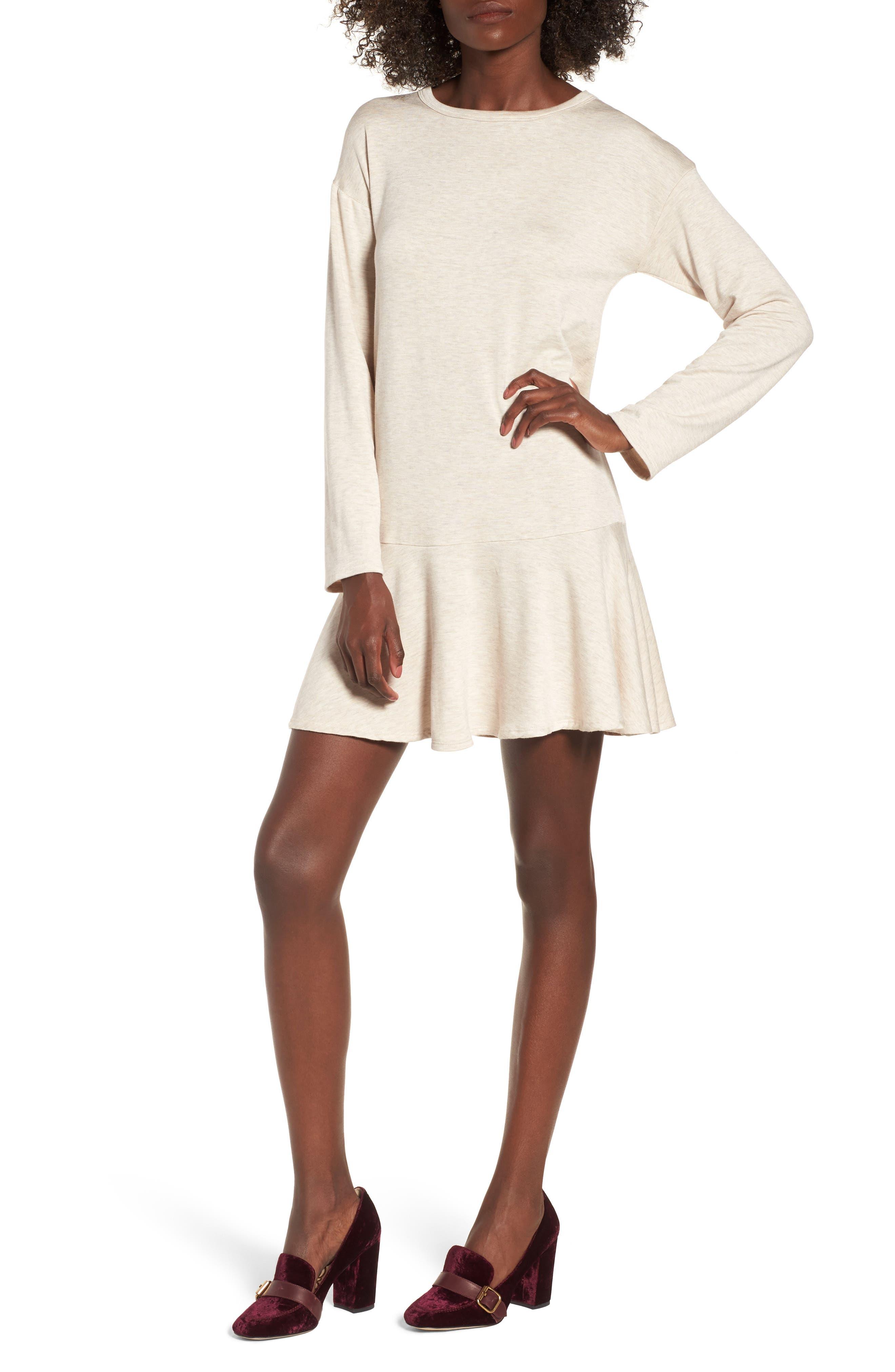 Drop Waist Sweatshirt Dress,                         Main,                         color, Taupe