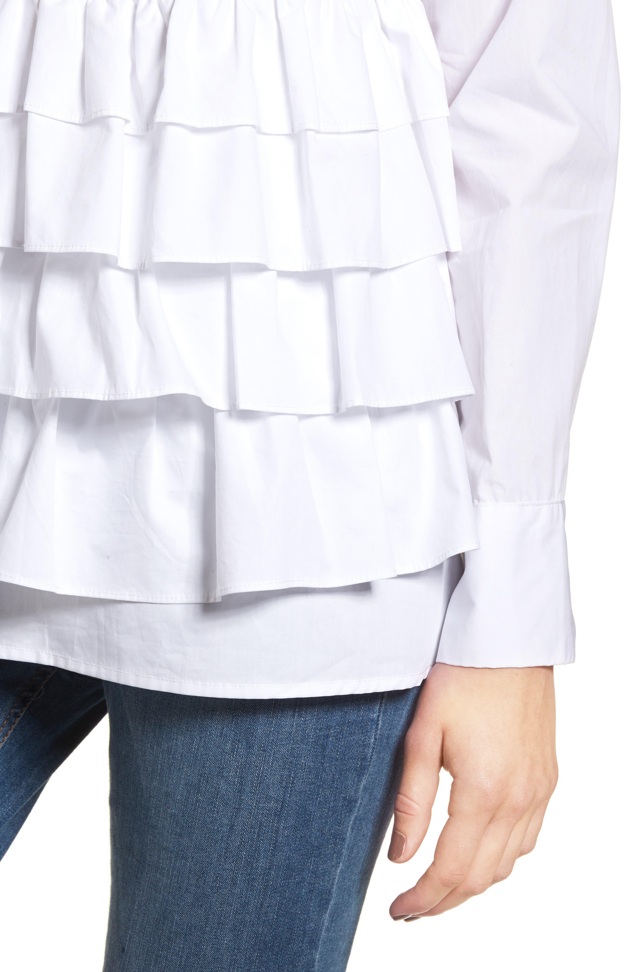 Alternate Image 5  - LOST INK Ruffle Hem Shirt
