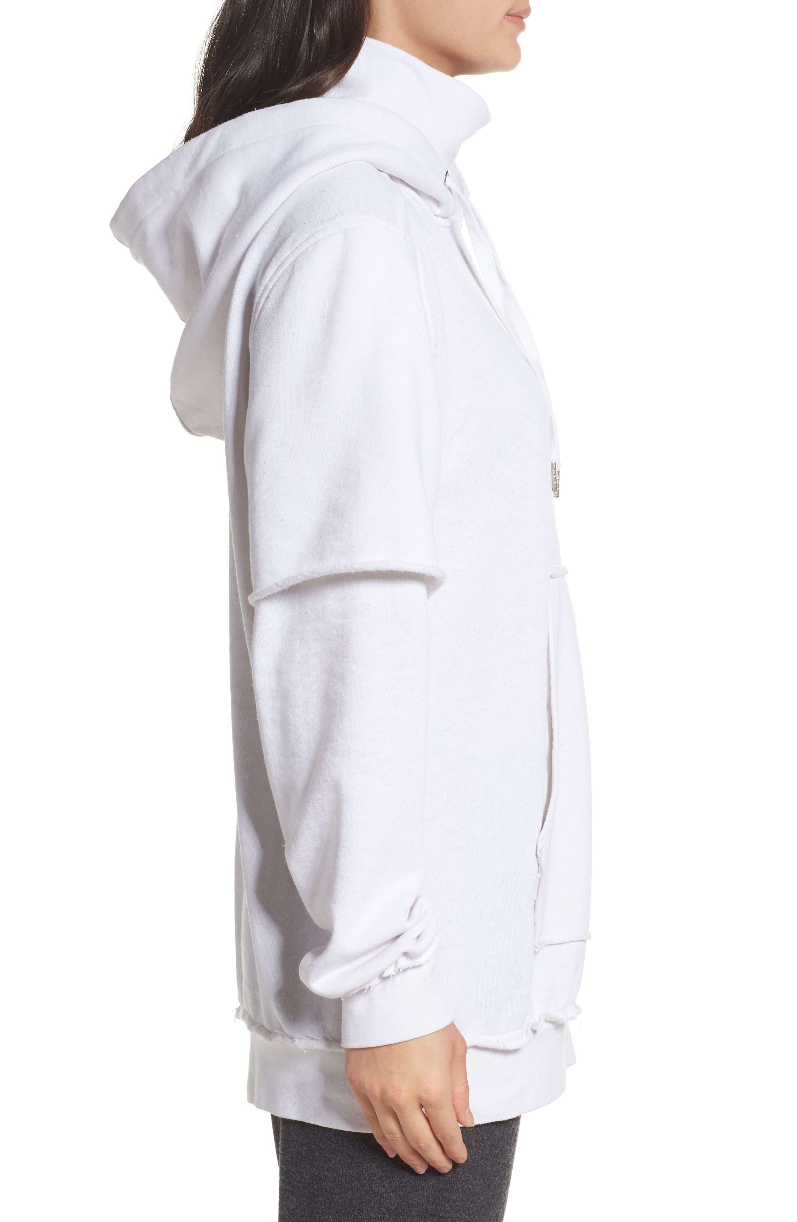 Good Hood Sweatshirt Dress,                             Alternate thumbnail 3, color,                             White