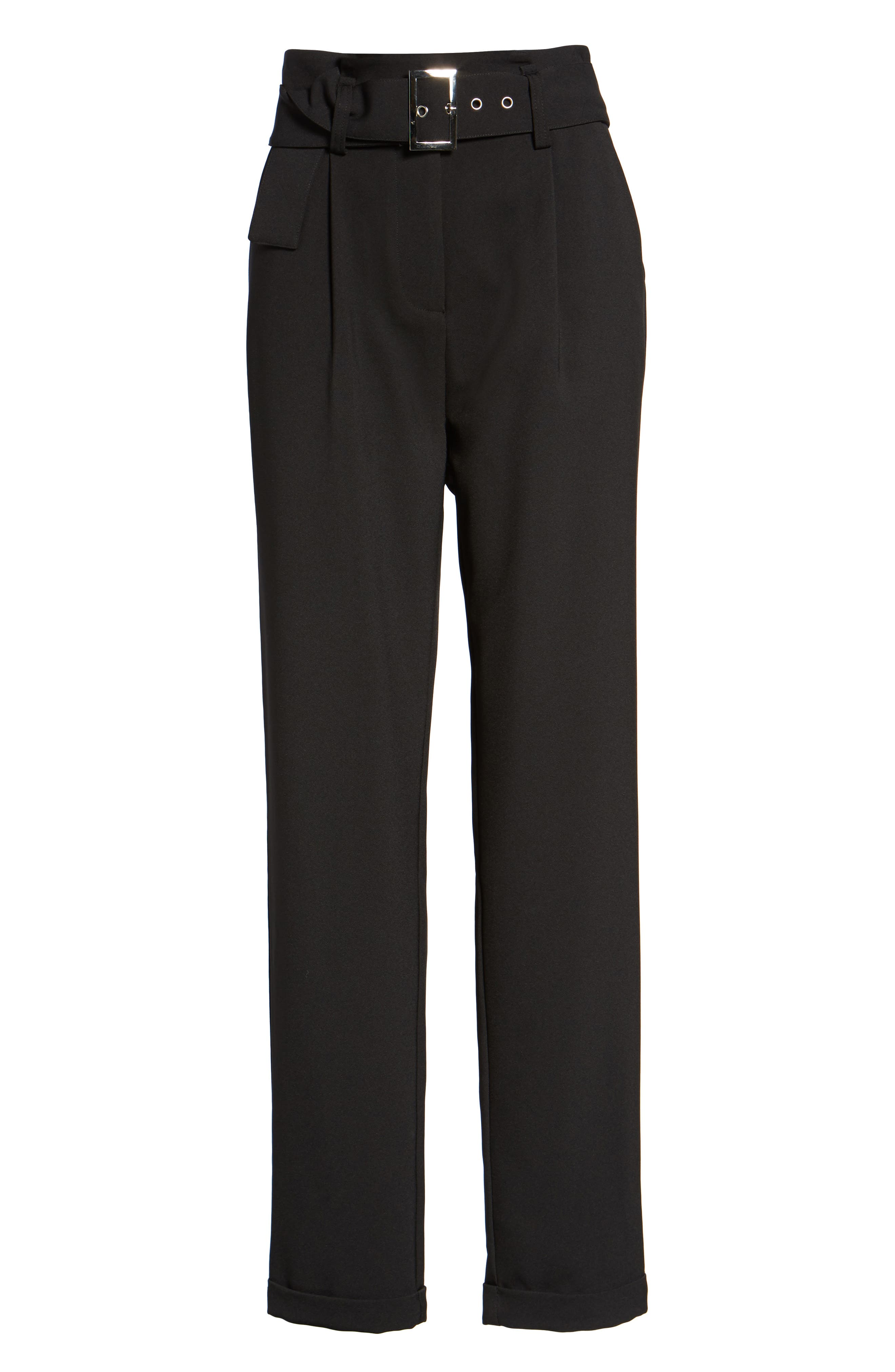 Alternate Image 7  - LOST INK Paperbag Waist Trousers