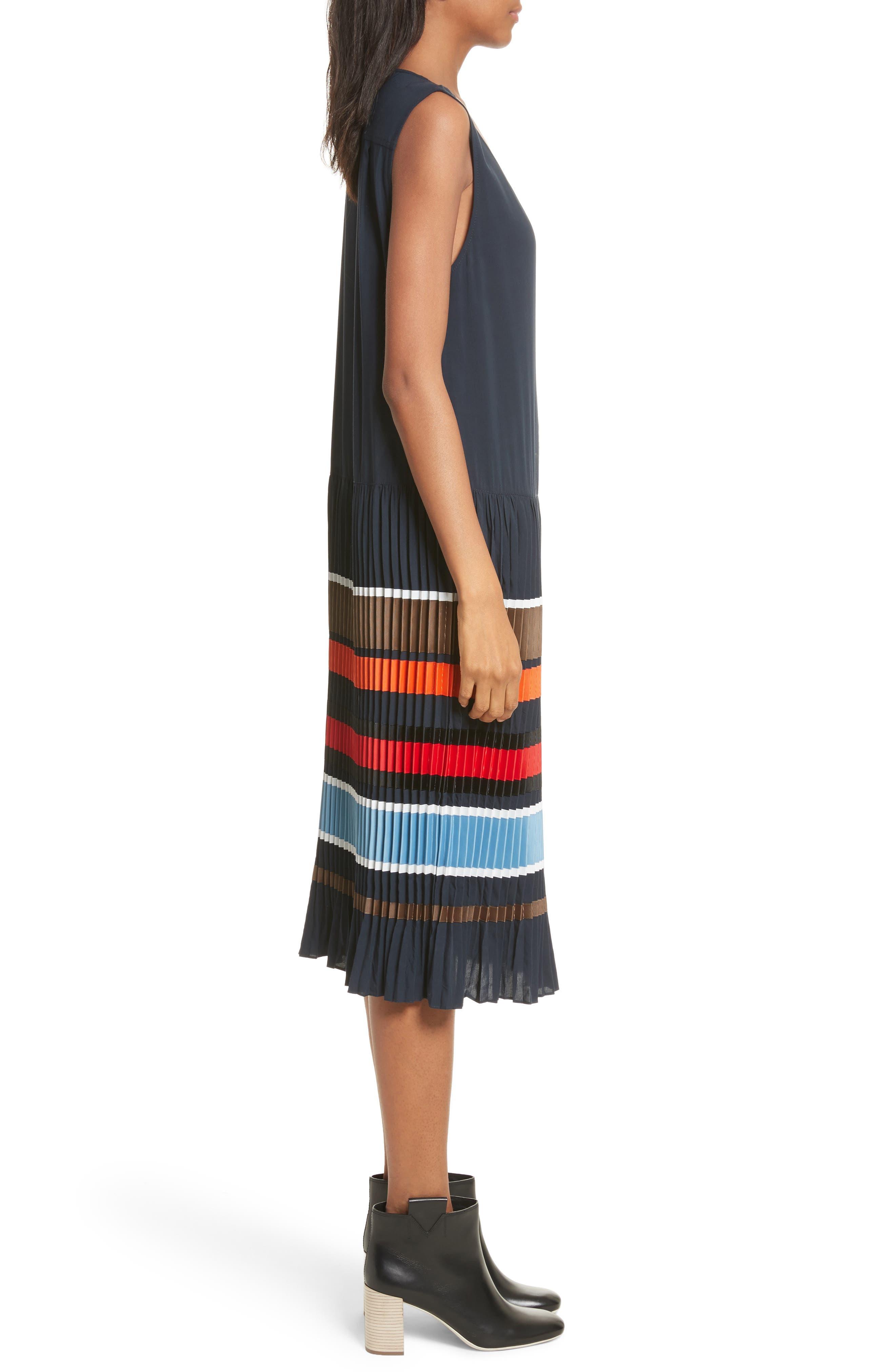 Jama Pleated Stripe Dress,                             Alternate thumbnail 3, color,                             Navy Multi