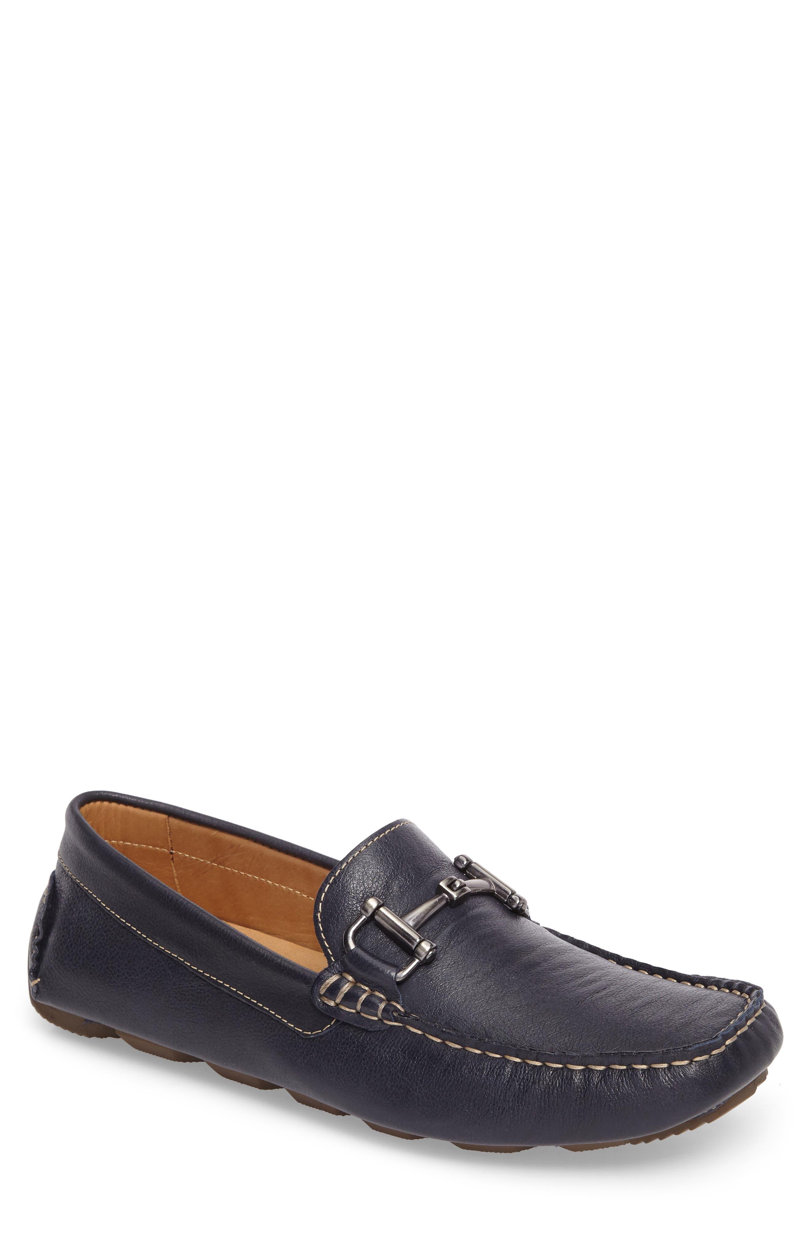 Topanga Driving Shoe,                         Main,                         color, Navy Leather