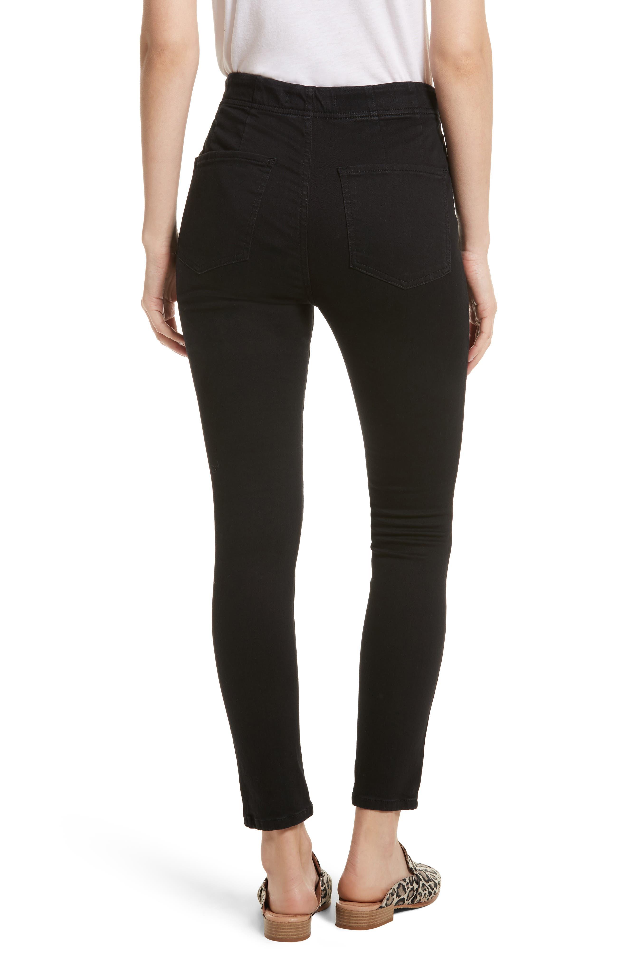 High Waist Ankle Skinny Pants,                             Alternate thumbnail 2, color,                             Black