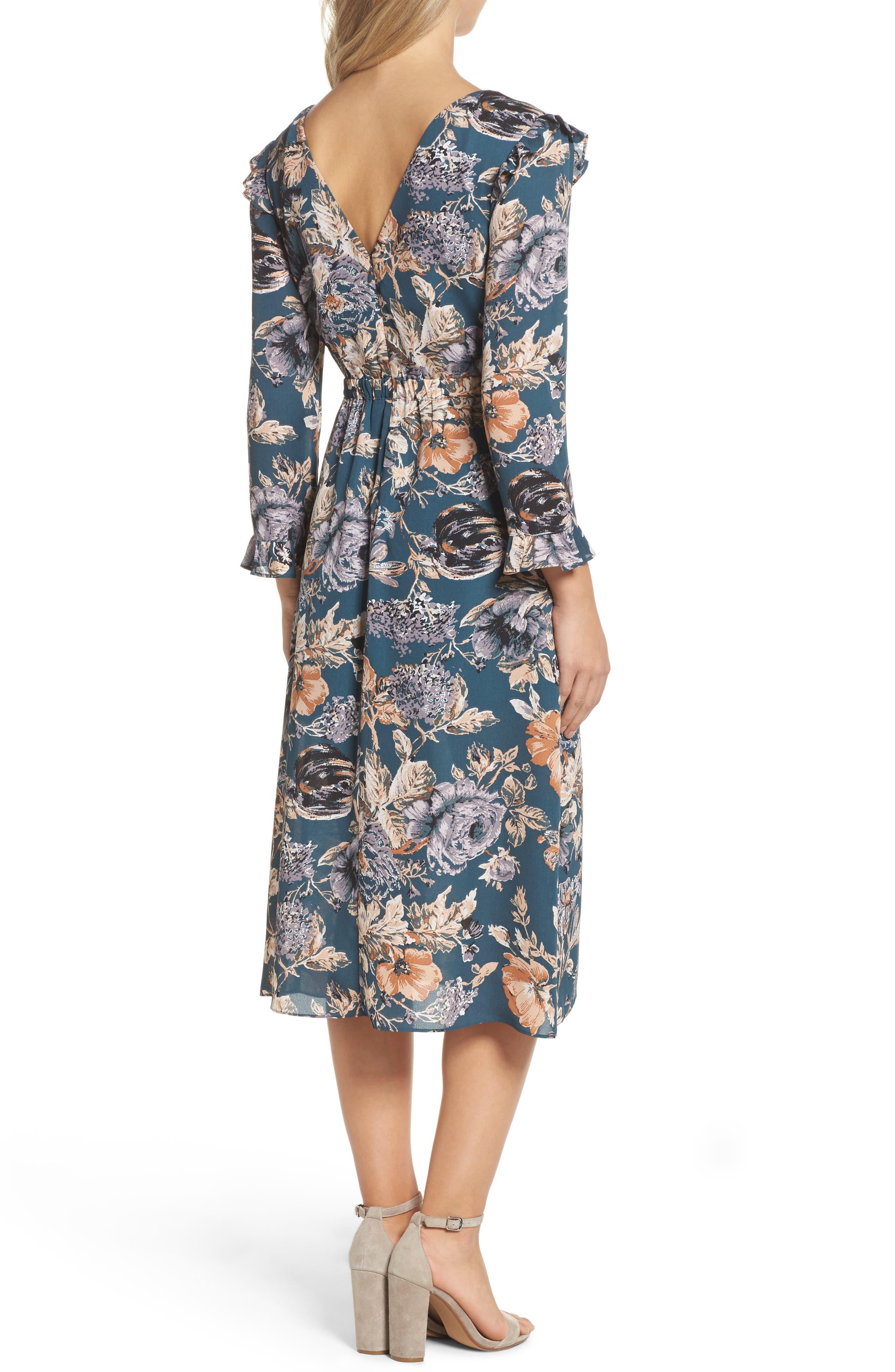 Je T'aime Midi Dress,                             Alternate thumbnail 3, color,                             Spruce Floral